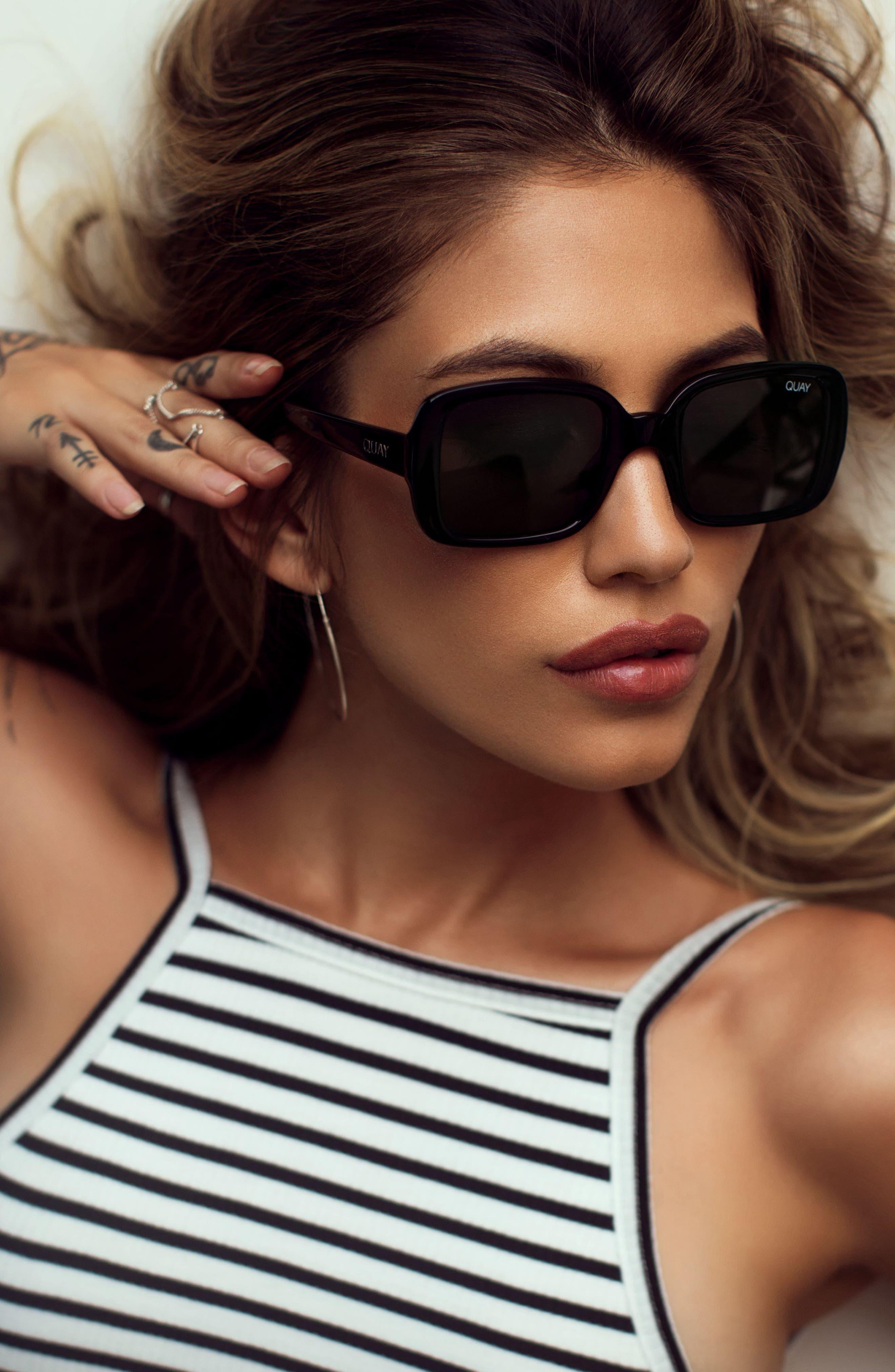 '20s 54mm Square Sunglasses,                             Alternate thumbnail 4, color,                             001