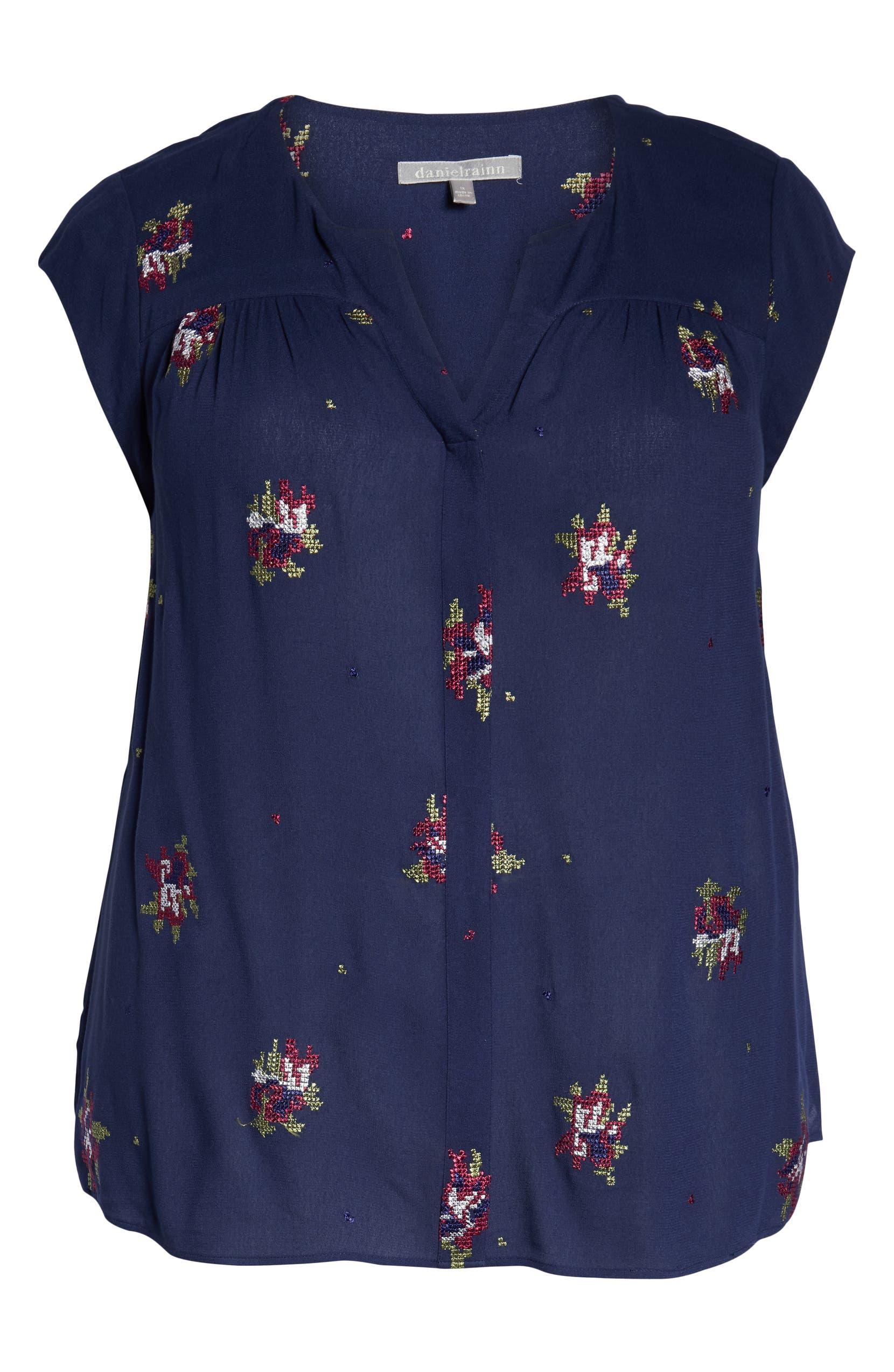f57384f944a Daniel Rainn Embroidered Knit Back Top (Plus Size)