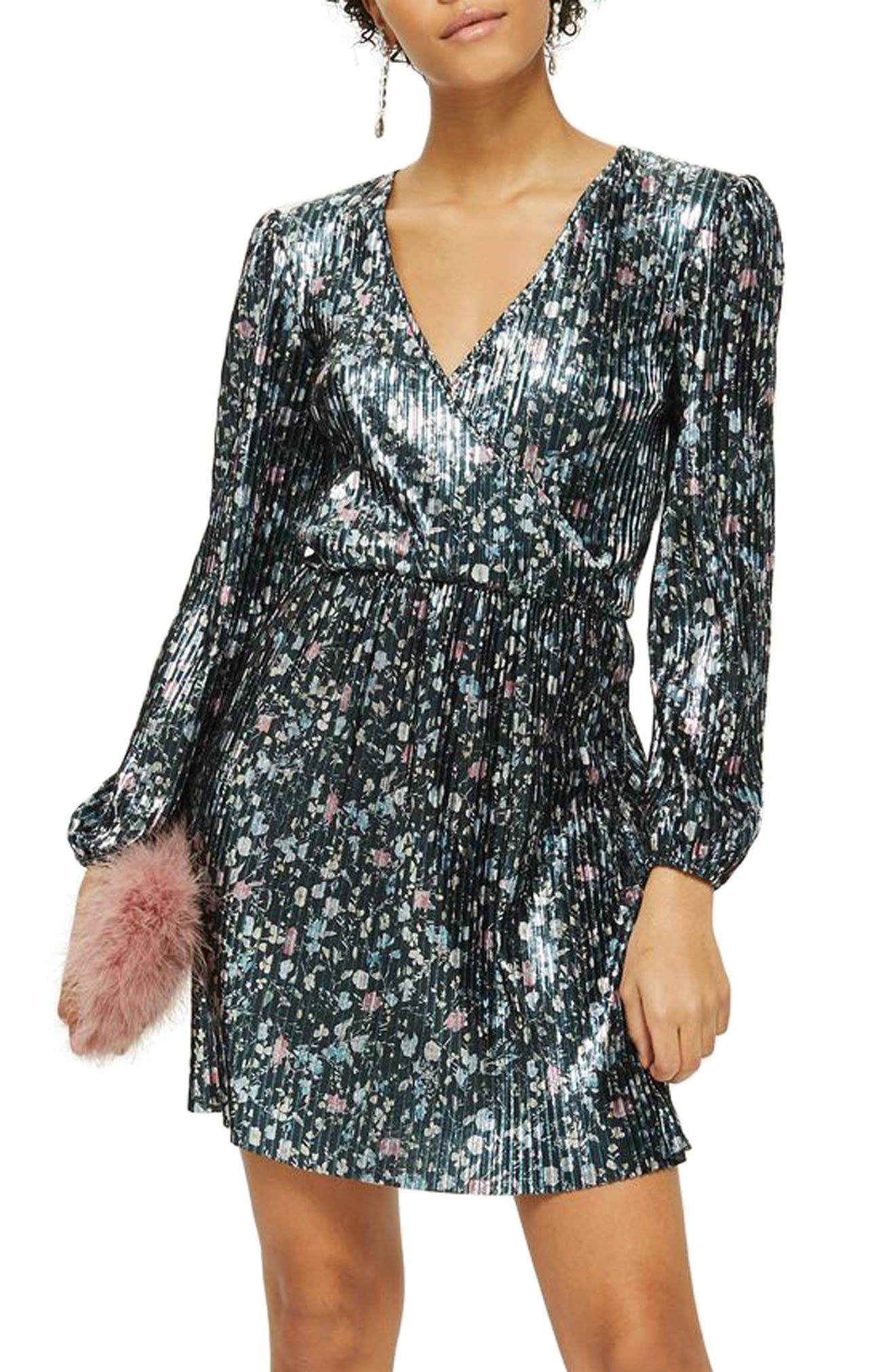 Ditsy Foil Plissé Dress,                         Main,                         color, 401