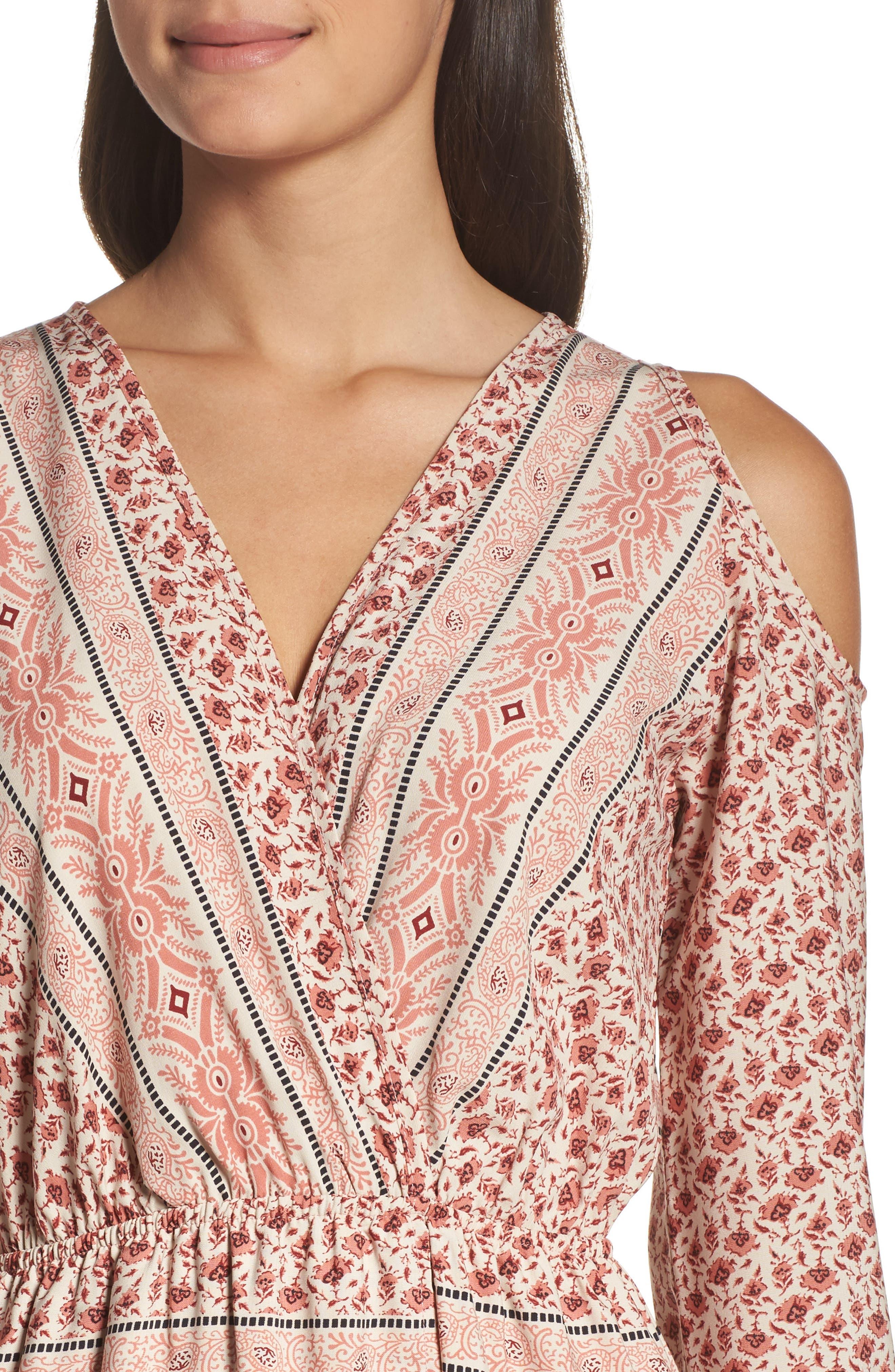 Cold Shoulder Midi Dress,                             Alternate thumbnail 4, color,                             MADISON