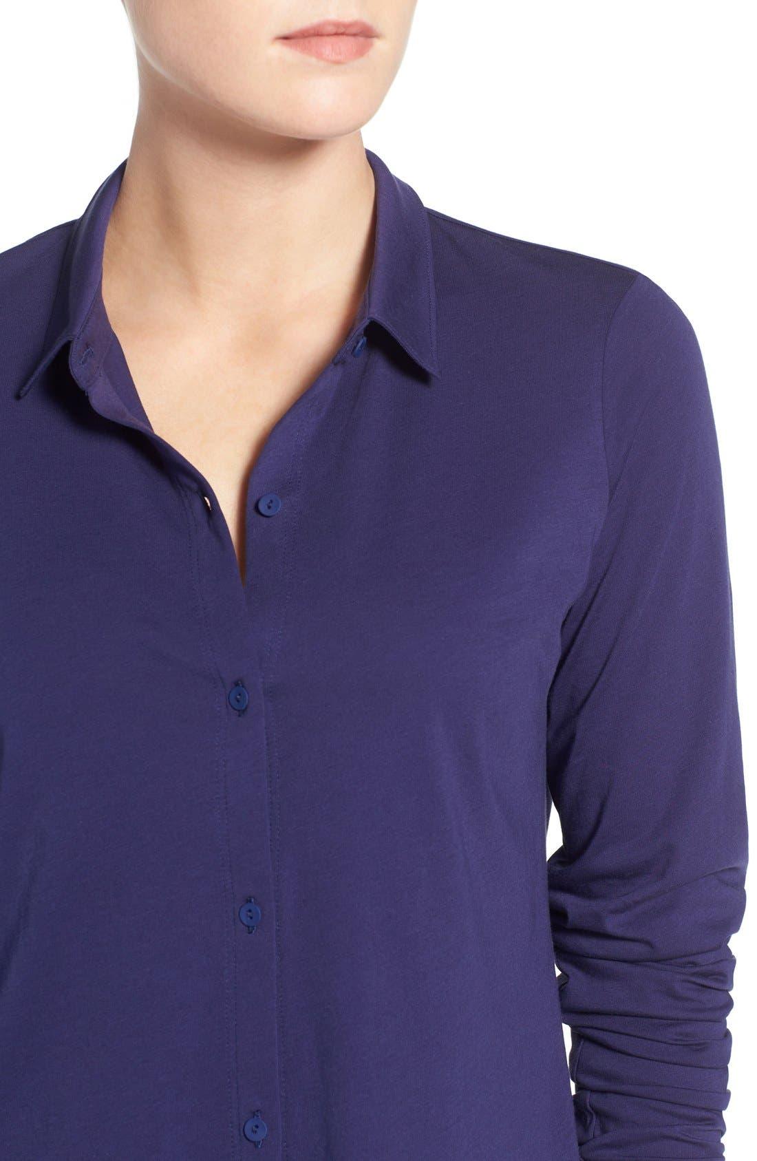 Organic Cotton Jersey Classic Collar Shirt,                             Alternate thumbnail 17, color,