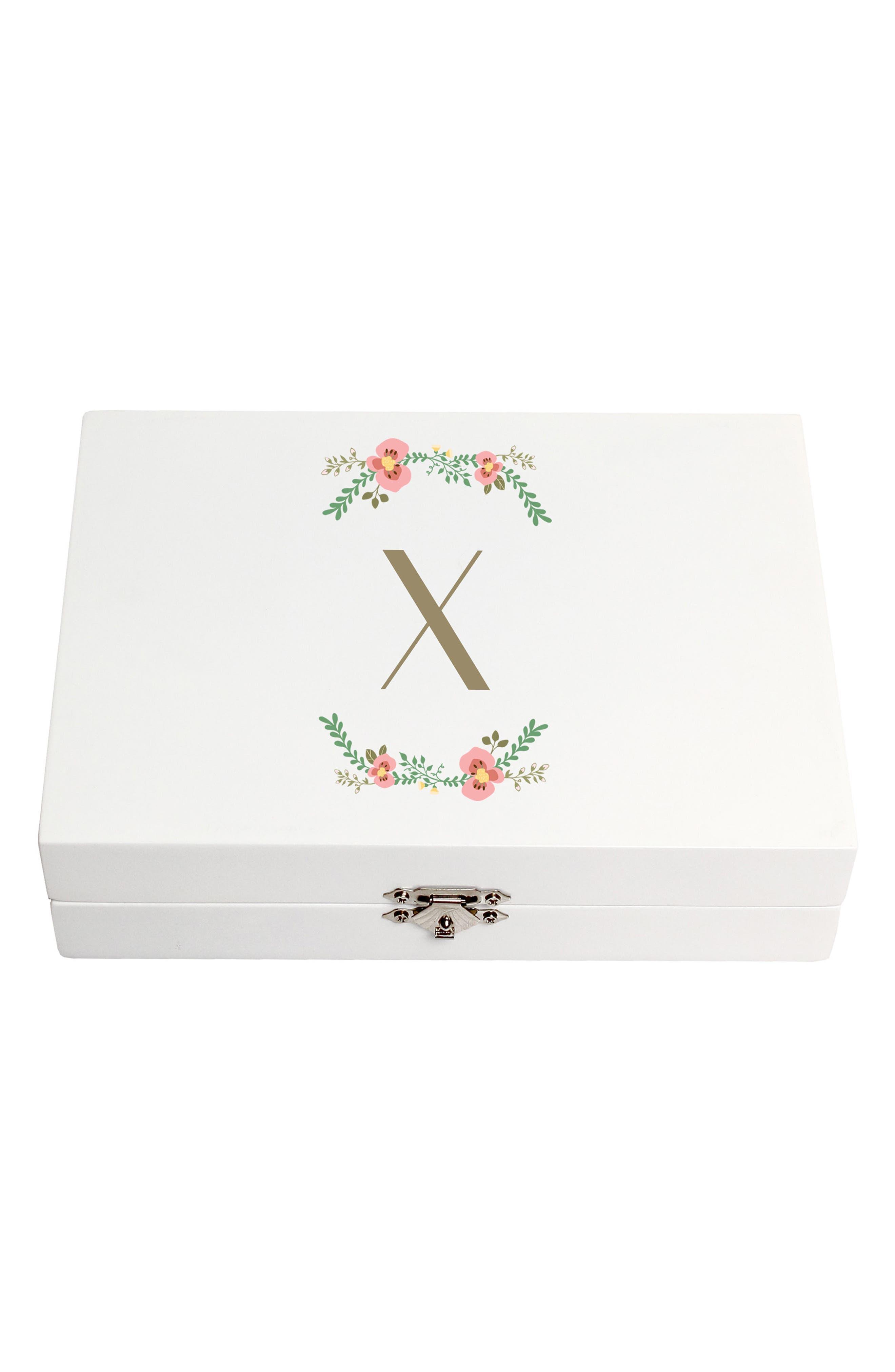 Monogram Floral Wedding Ring Box,                             Main thumbnail 24, color,