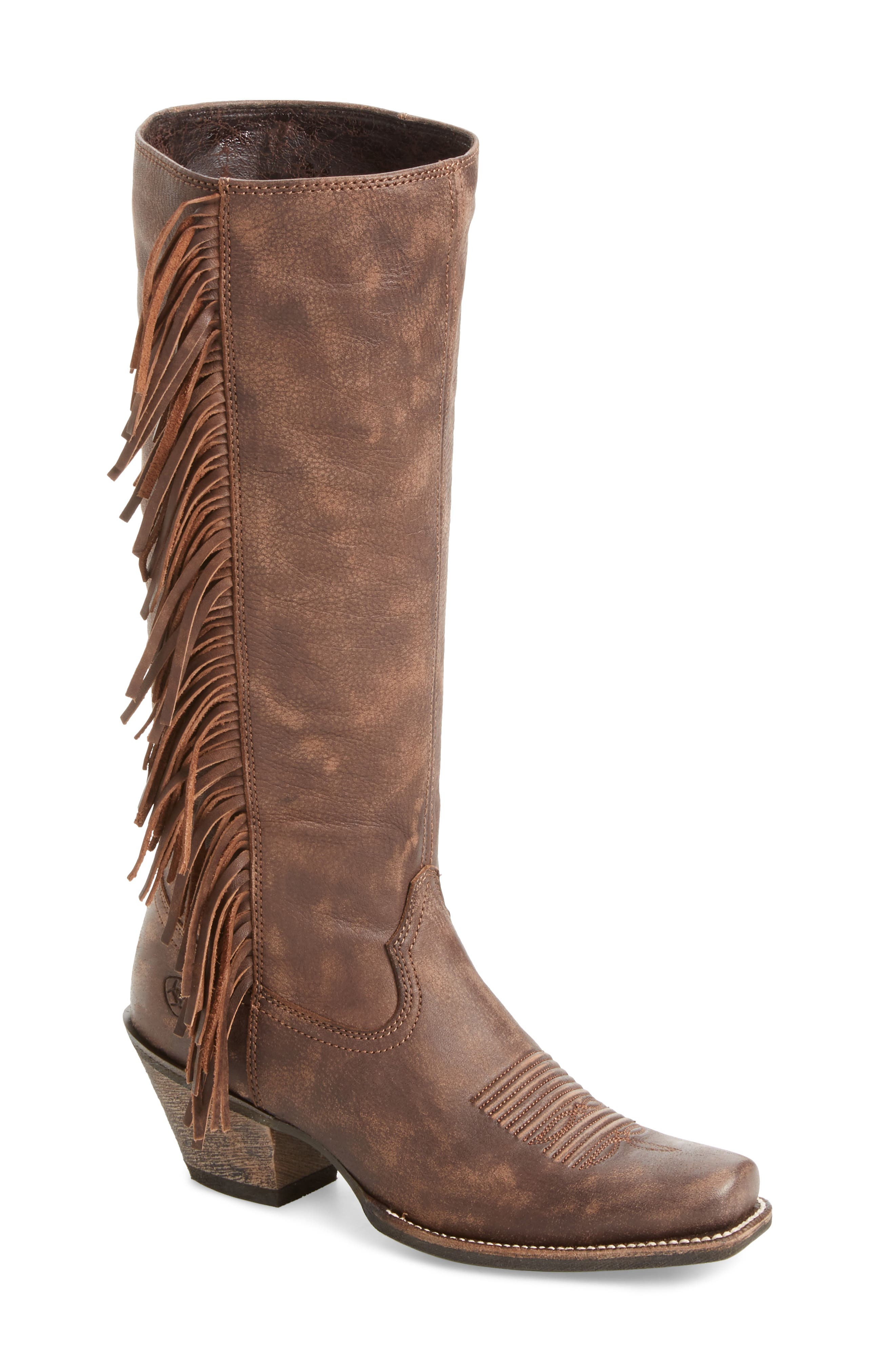 Leyton Fringe Western Boot,                             Main thumbnail 1, color,                             TACK ROOM CHOCOLATE LEATHER