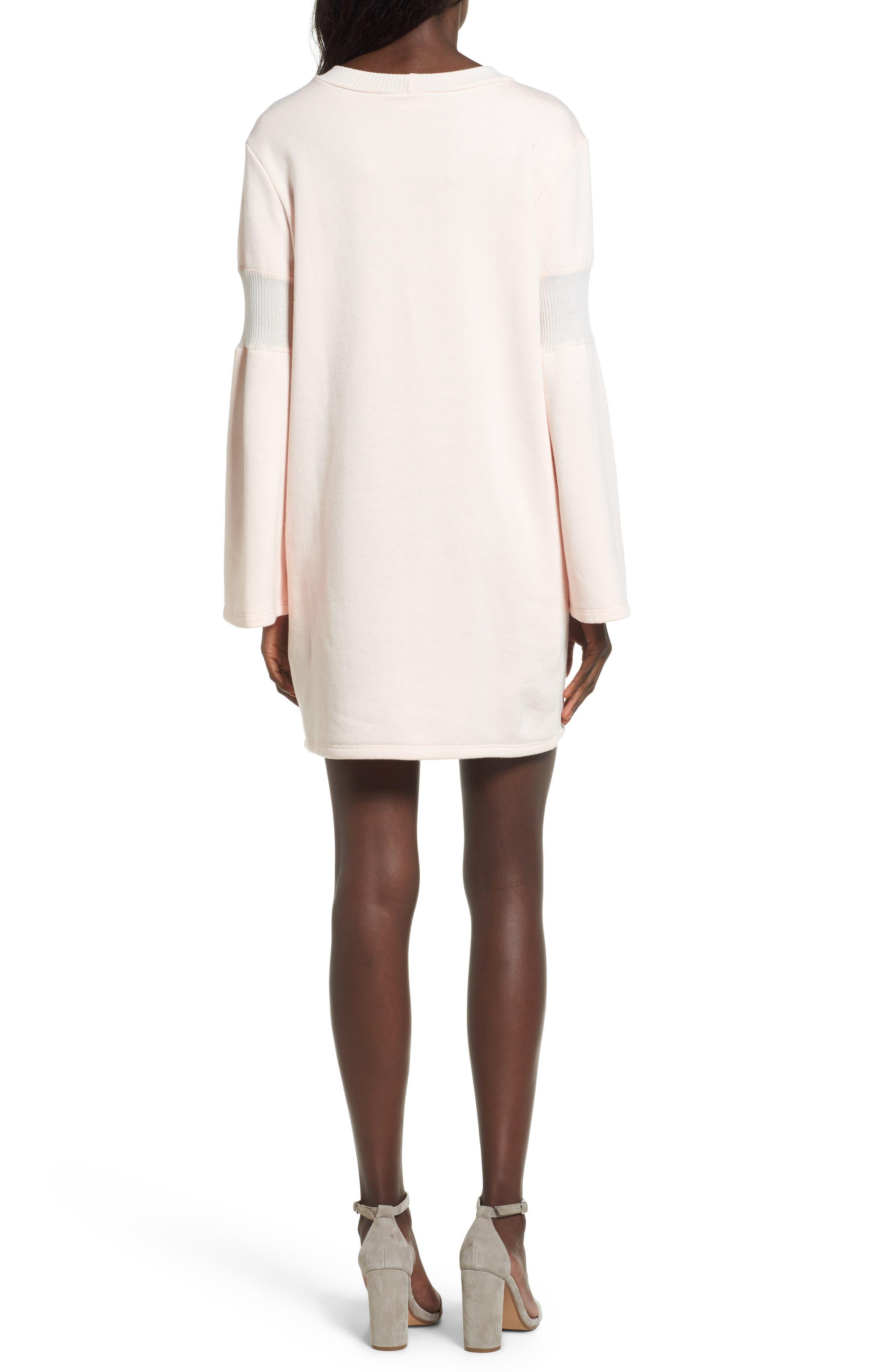 Bell Sleeve Sweatshirt Dress,                             Alternate thumbnail 4, color,
