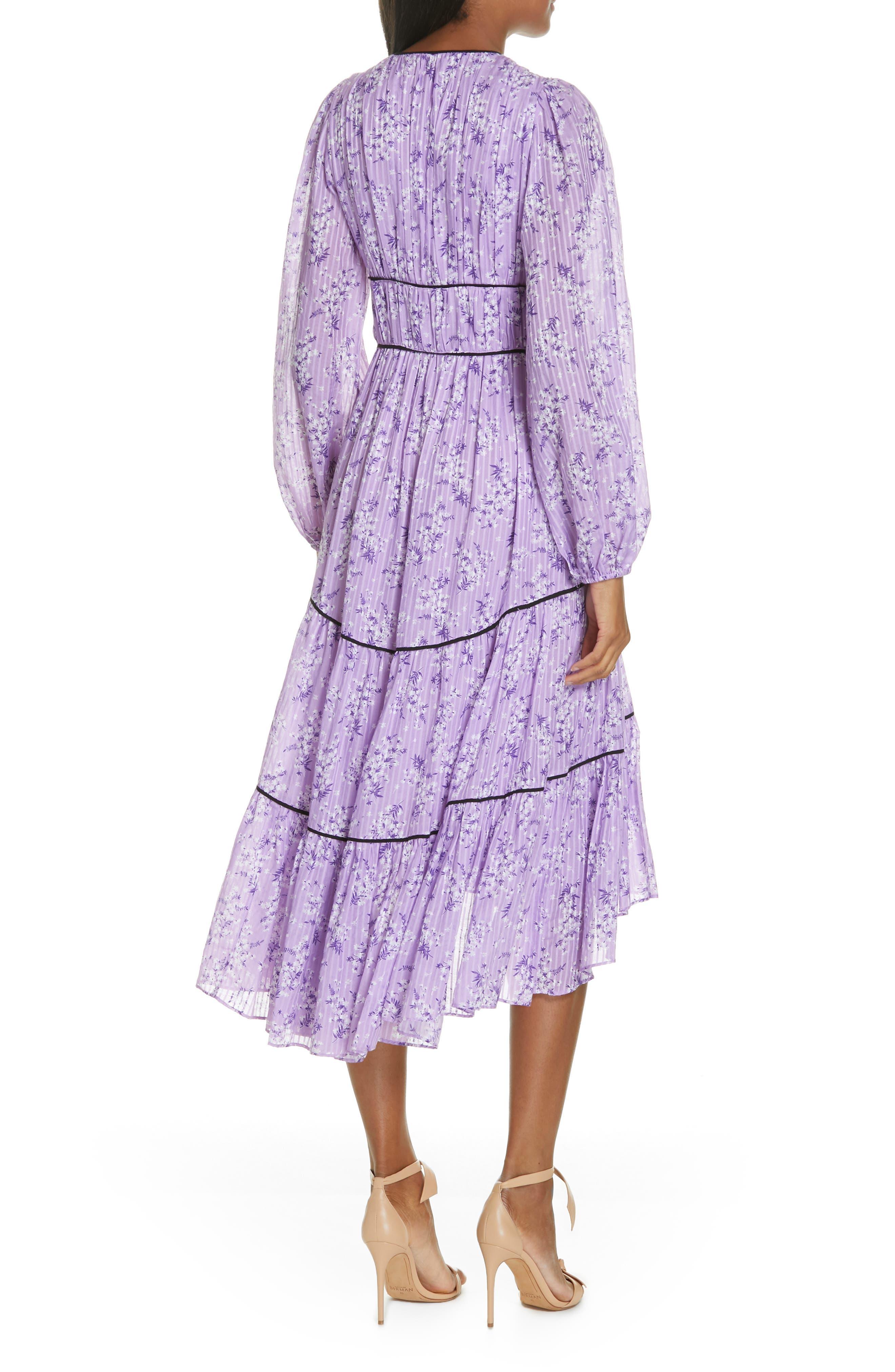 Joan Floral Print Cotton & Silk Midi Dress,                             Alternate thumbnail 2, color,                             LILAC