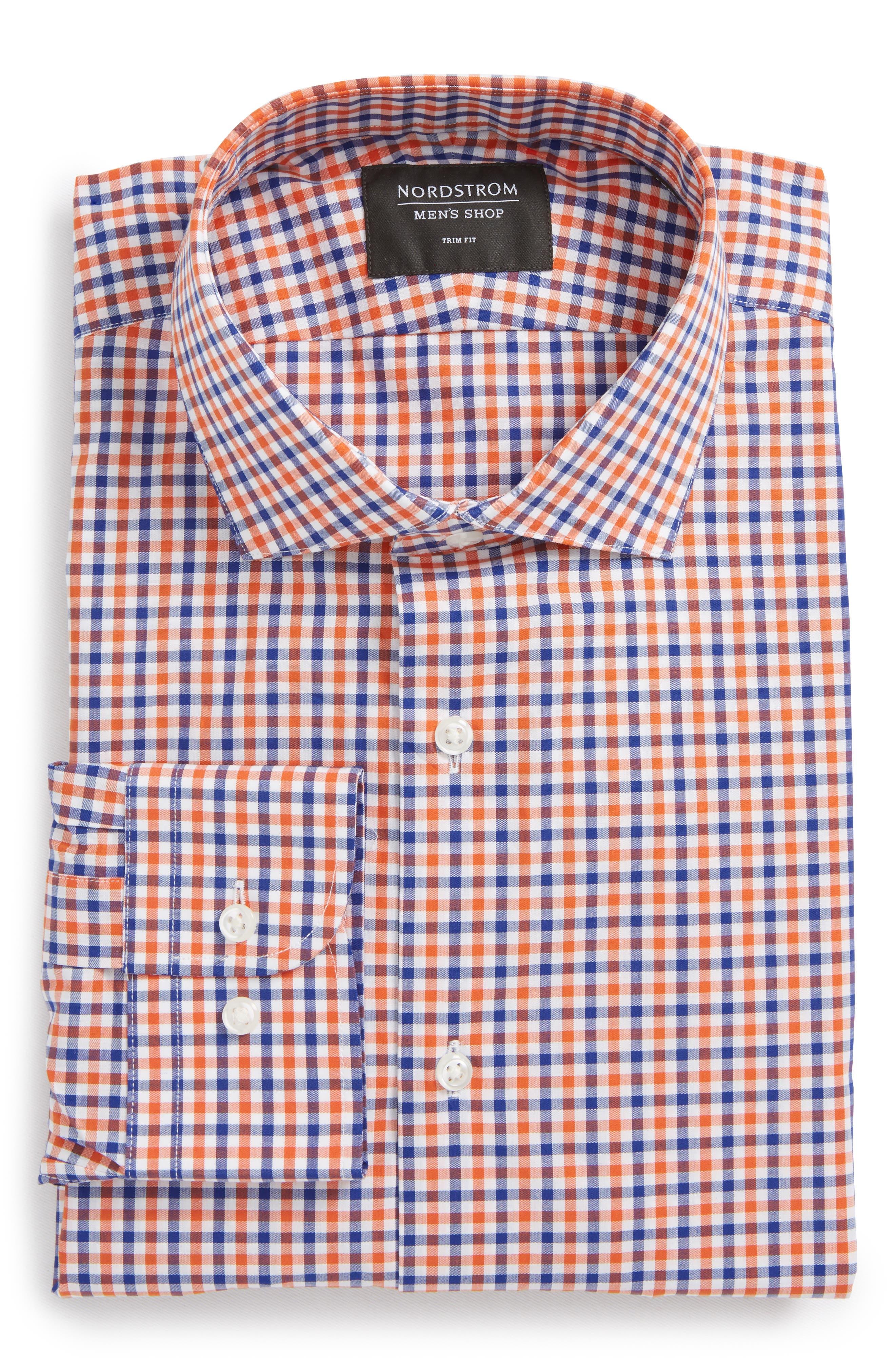Trim Fit Check Dress Shirt,                             Alternate thumbnail 15, color,