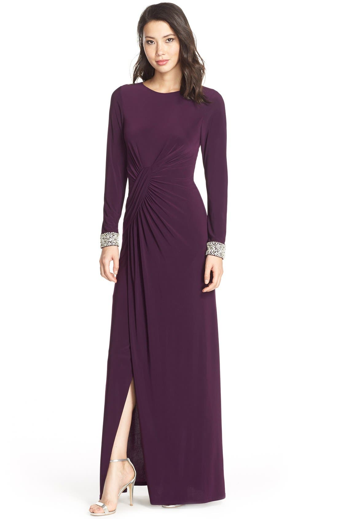 Beaded Cuff Ruched Jersey Gown,                             Main thumbnail 1, color,                             505