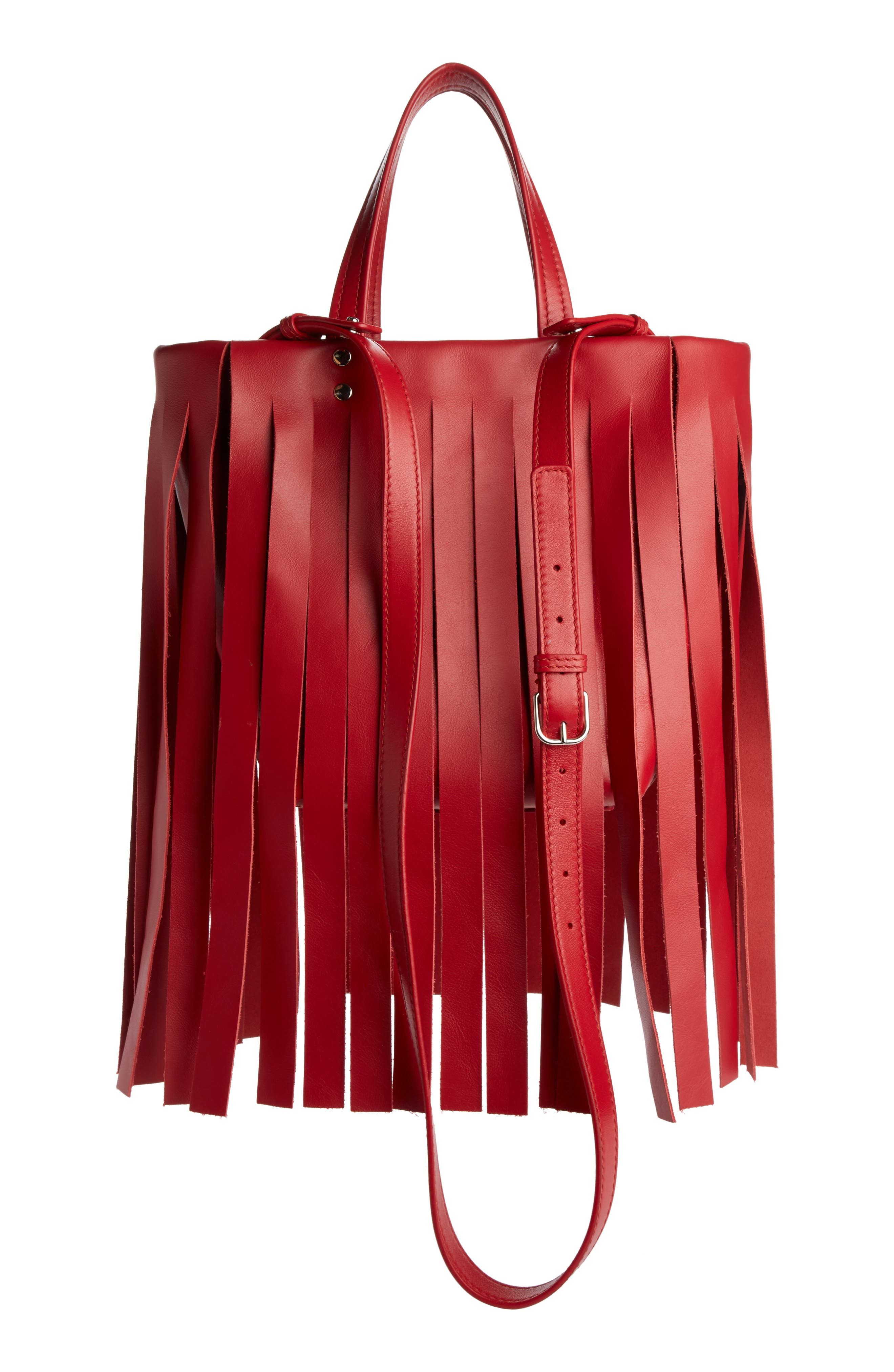 Extra Small Laundry Logo Fringe Calfskin Tote,                             Alternate thumbnail 2, color,                             RED TULIPE/ BLANC