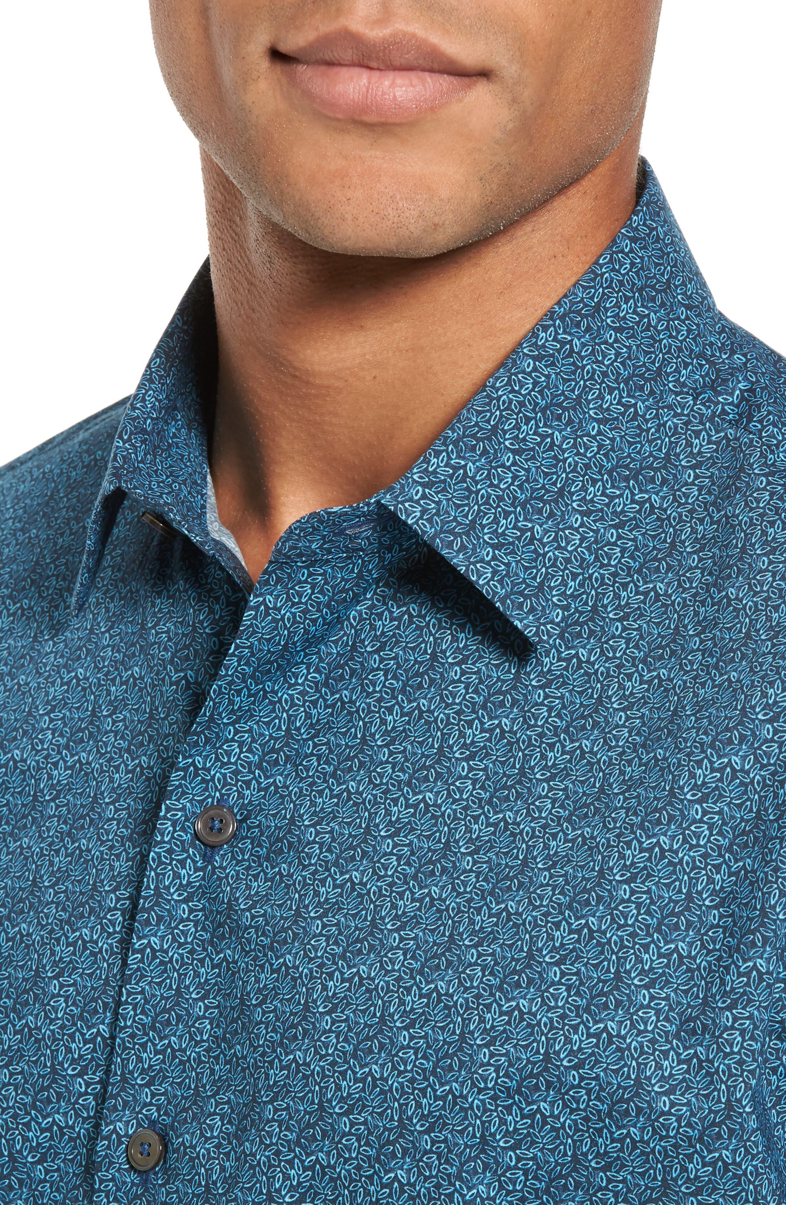 Machnee Slim Fit Print Sport Shirt,                             Alternate thumbnail 4, color,                             401