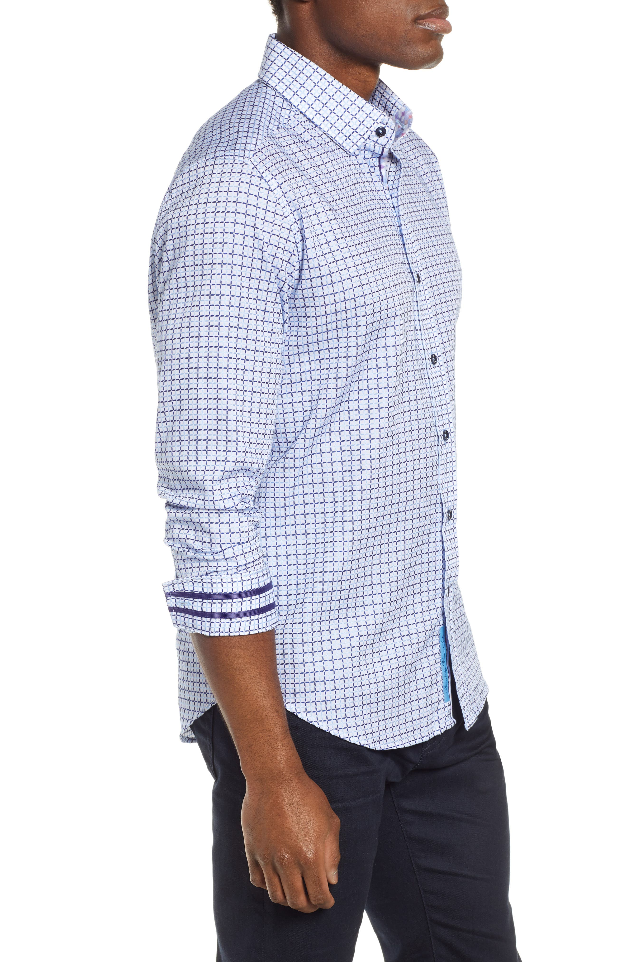 ROBERT GRAHAM,                             Axton Tailored Fit Check Sport Shirt,                             Alternate thumbnail 4, color,                             BLUE