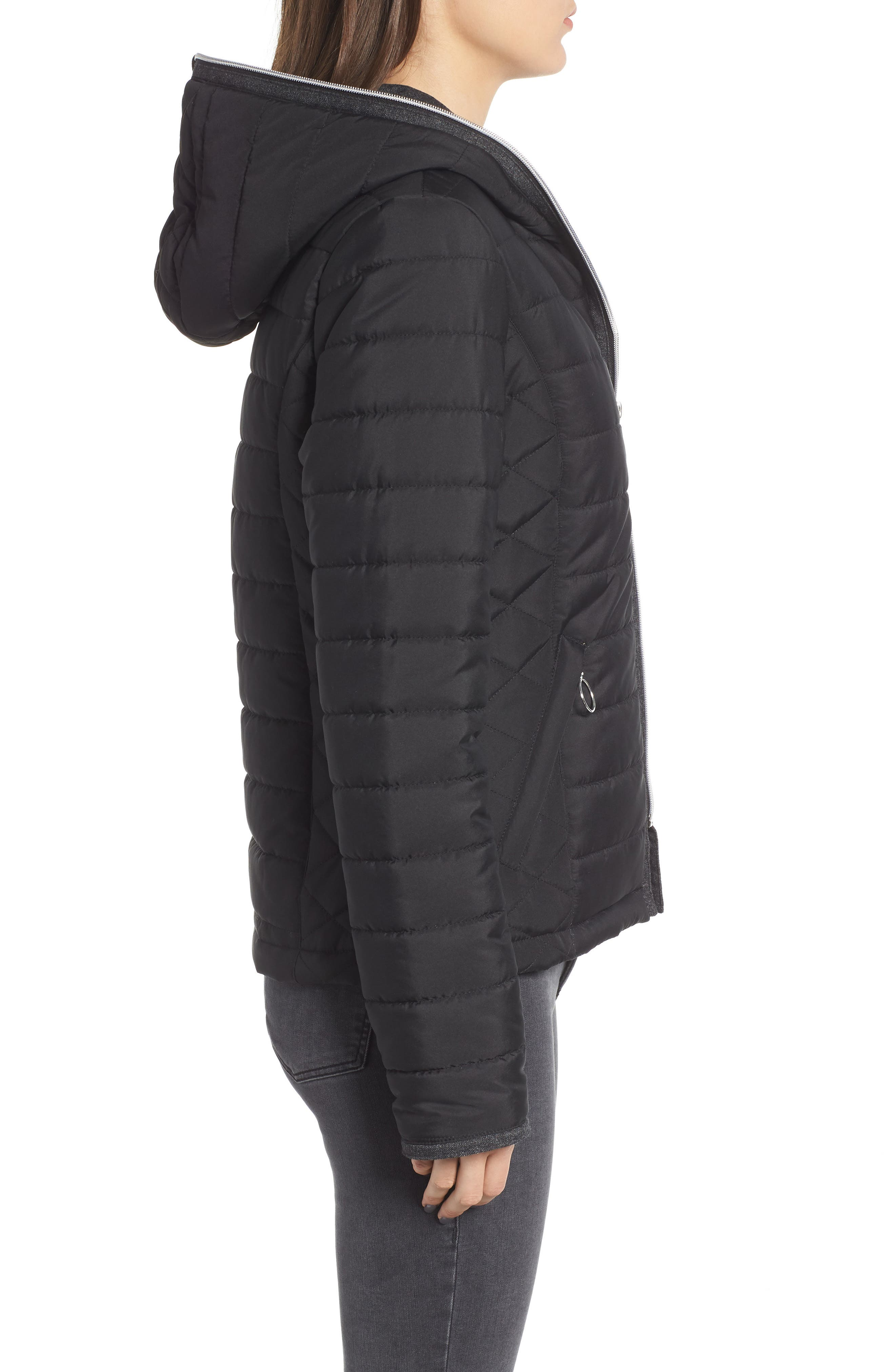 Hooded Quilted Jacket,                             Alternate thumbnail 3, color,                             BLACK