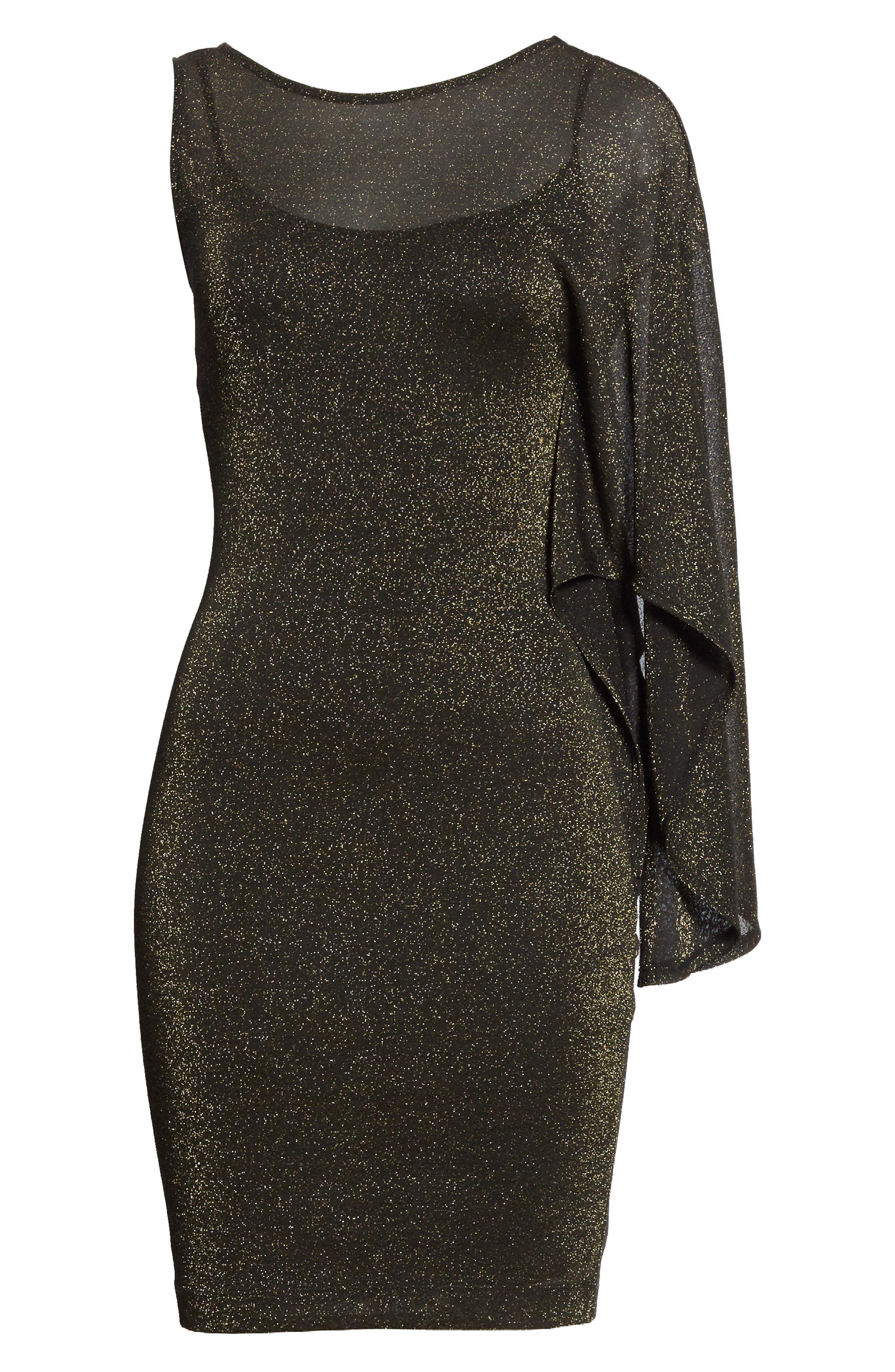 Draped One-Shoulder Dress,                             Alternate thumbnail 6, color,                             001
