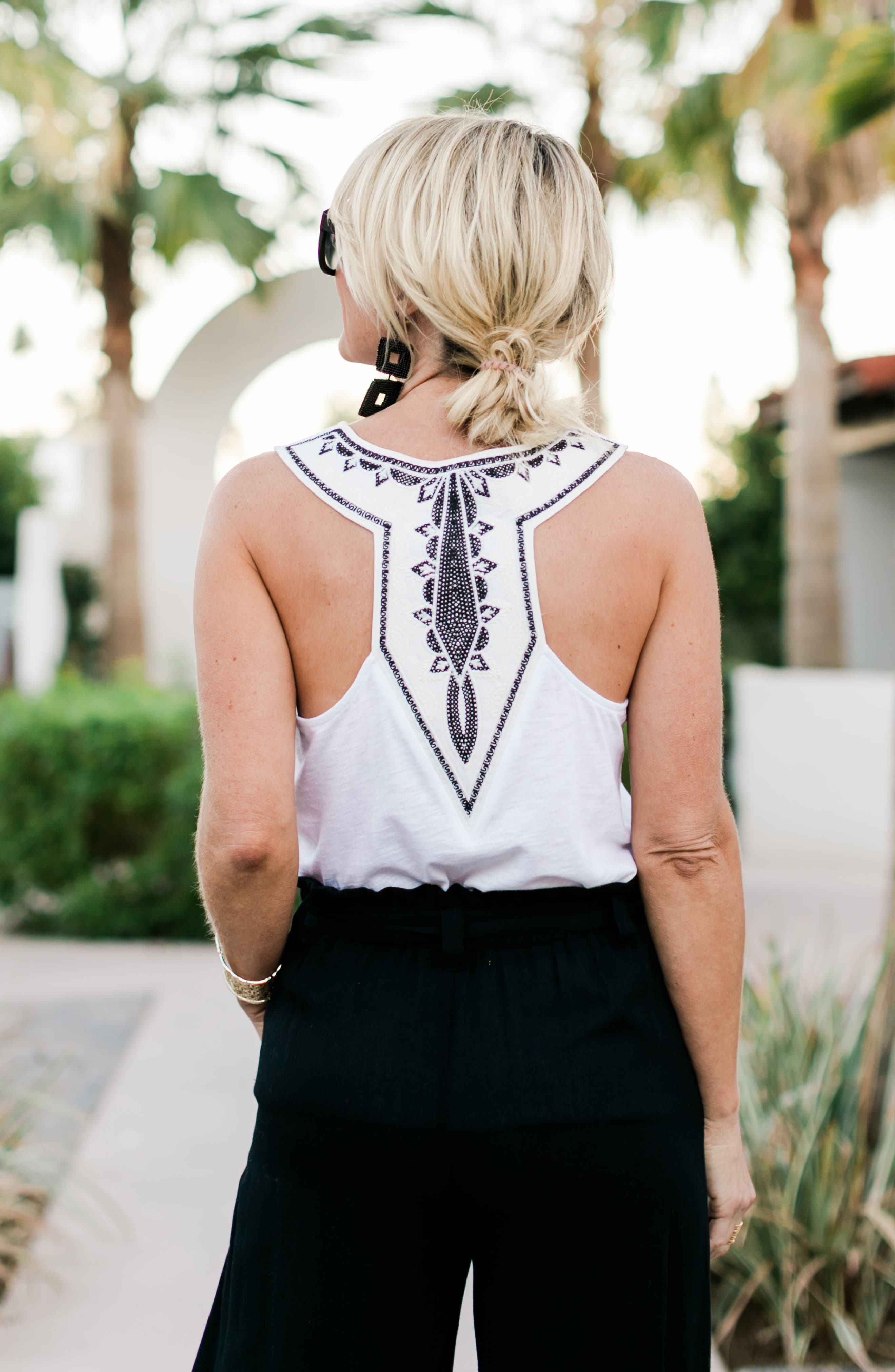 x Hi Sugarplum! Malibu Embroidered Racerback Tank Top,                             Alternate thumbnail 7, color,                             WHITE W/ BLACK/ WHITE