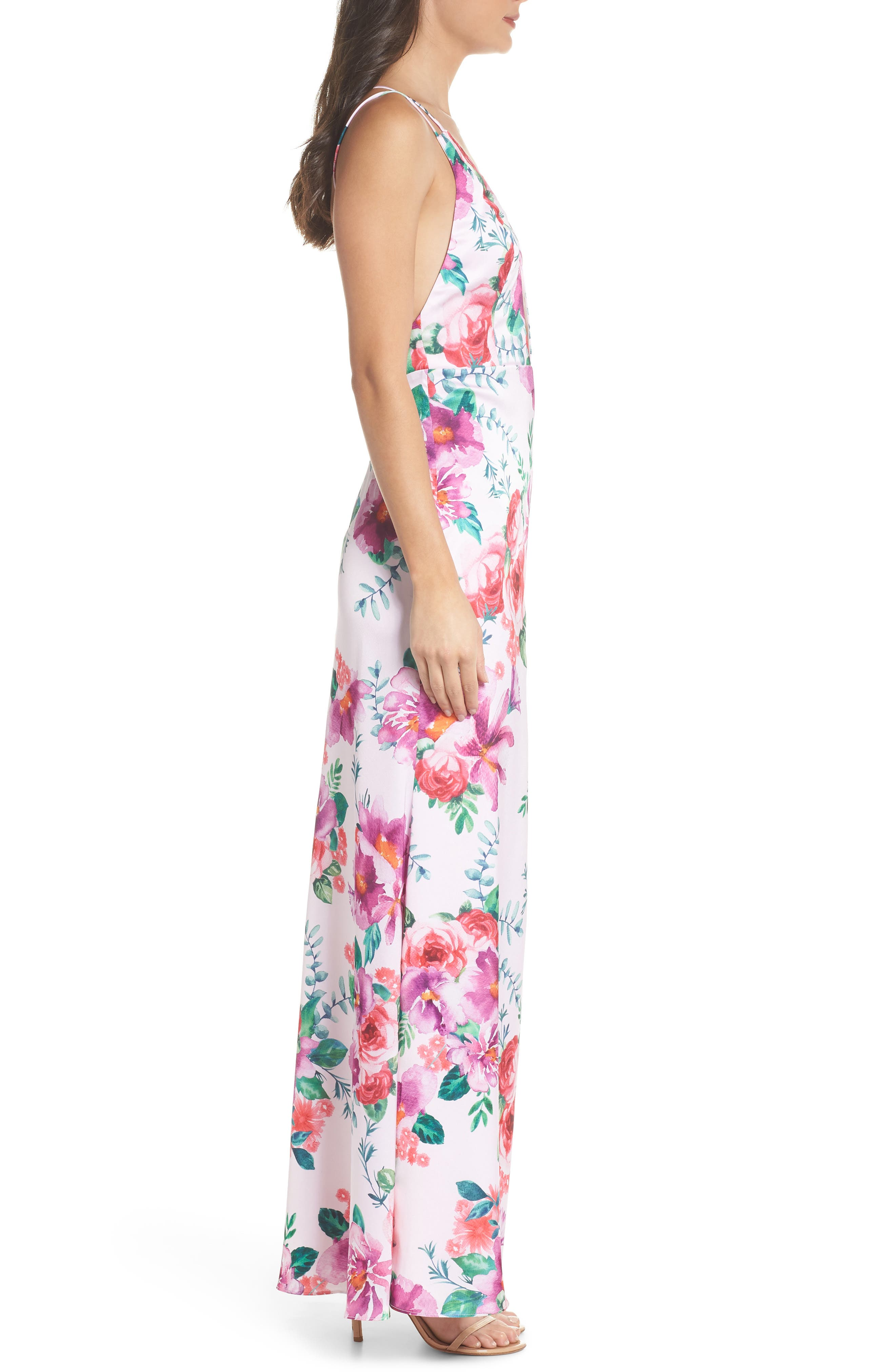 The Rylee Floral Strappy Gown,                             Alternate thumbnail 3, color,                             653