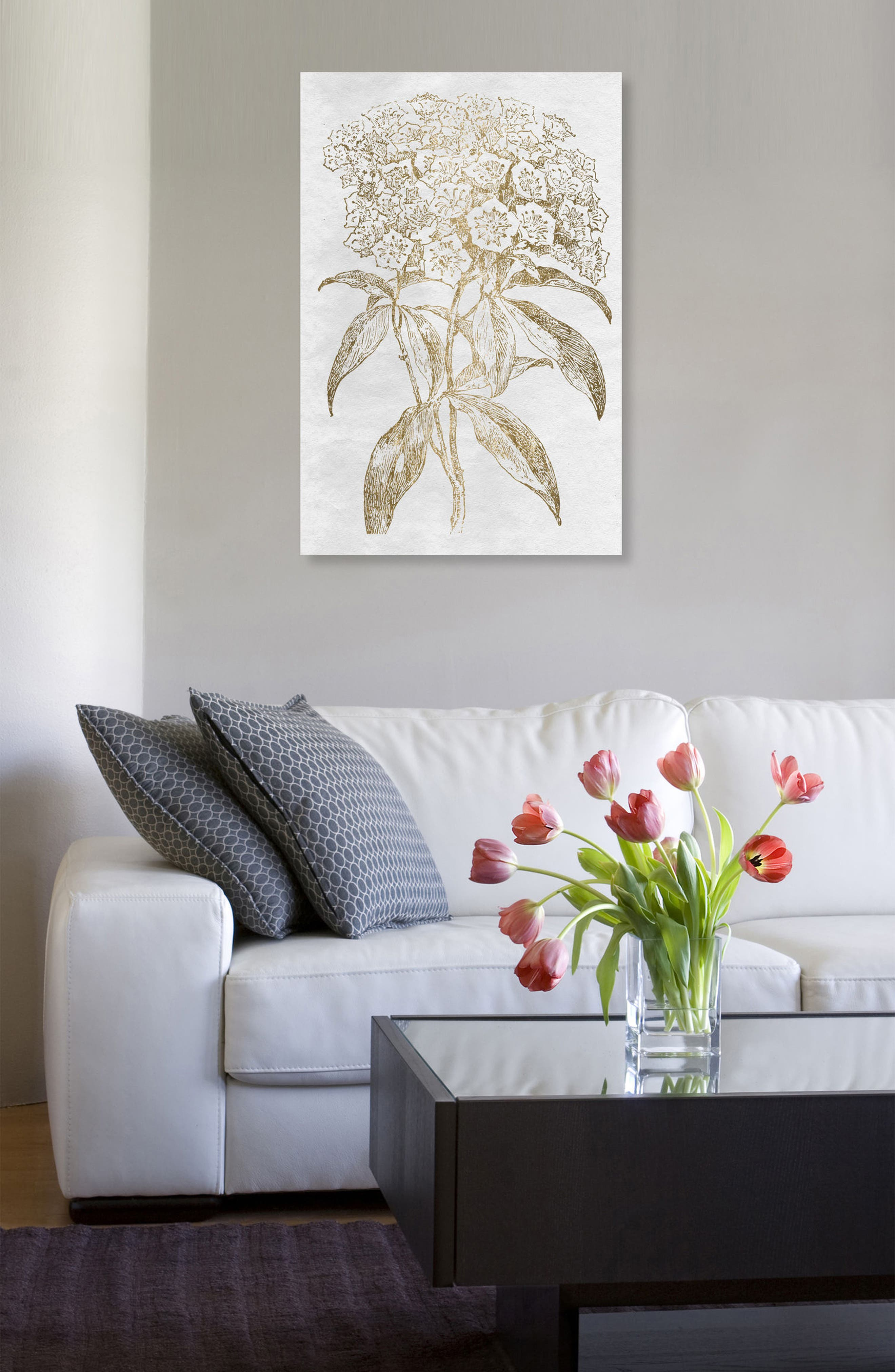 Floral Sketch Gold Canvas Wall Art,                             Alternate thumbnail 2, color,                             METALLIC GOLD