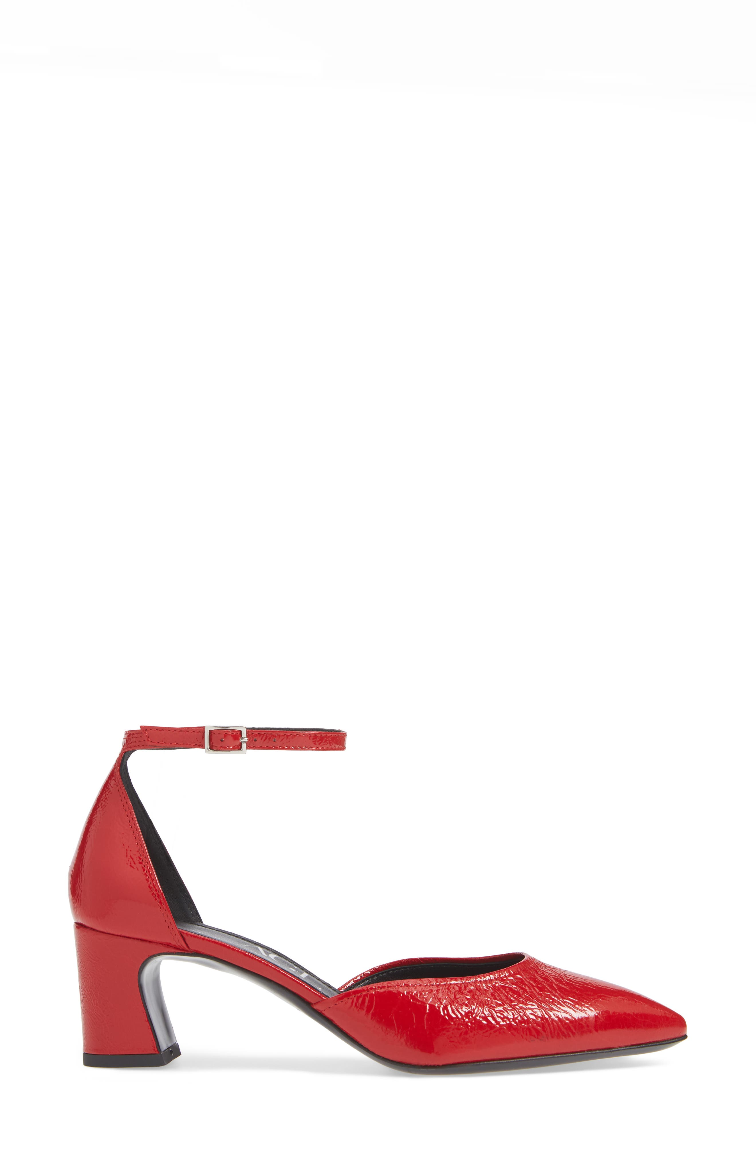 d'Orsay Ankle Strap Pump,                             Alternate thumbnail 3, color,                             RED PATENT