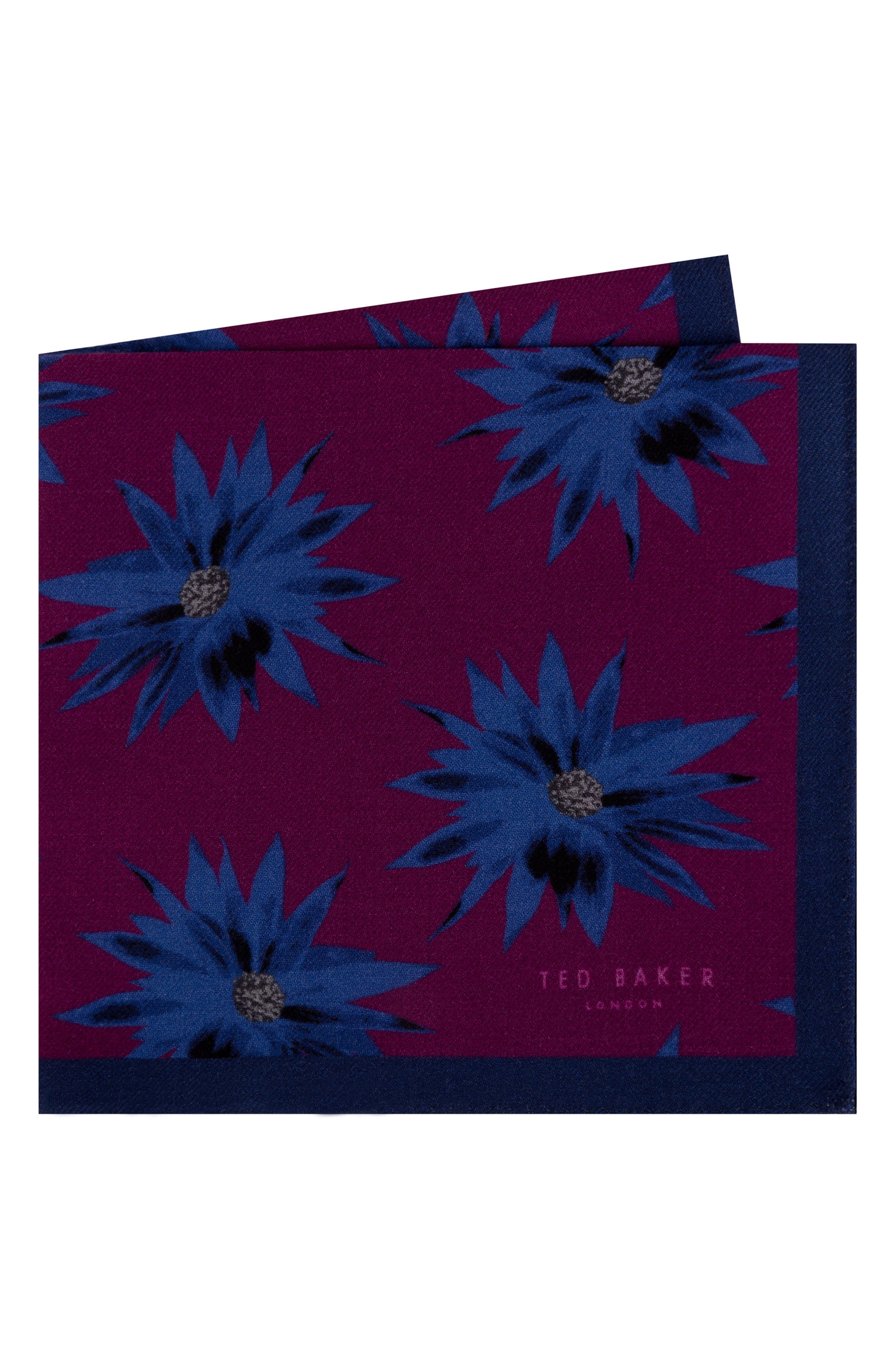 Print Silk Pocket Square,                         Main,                         color, PINK