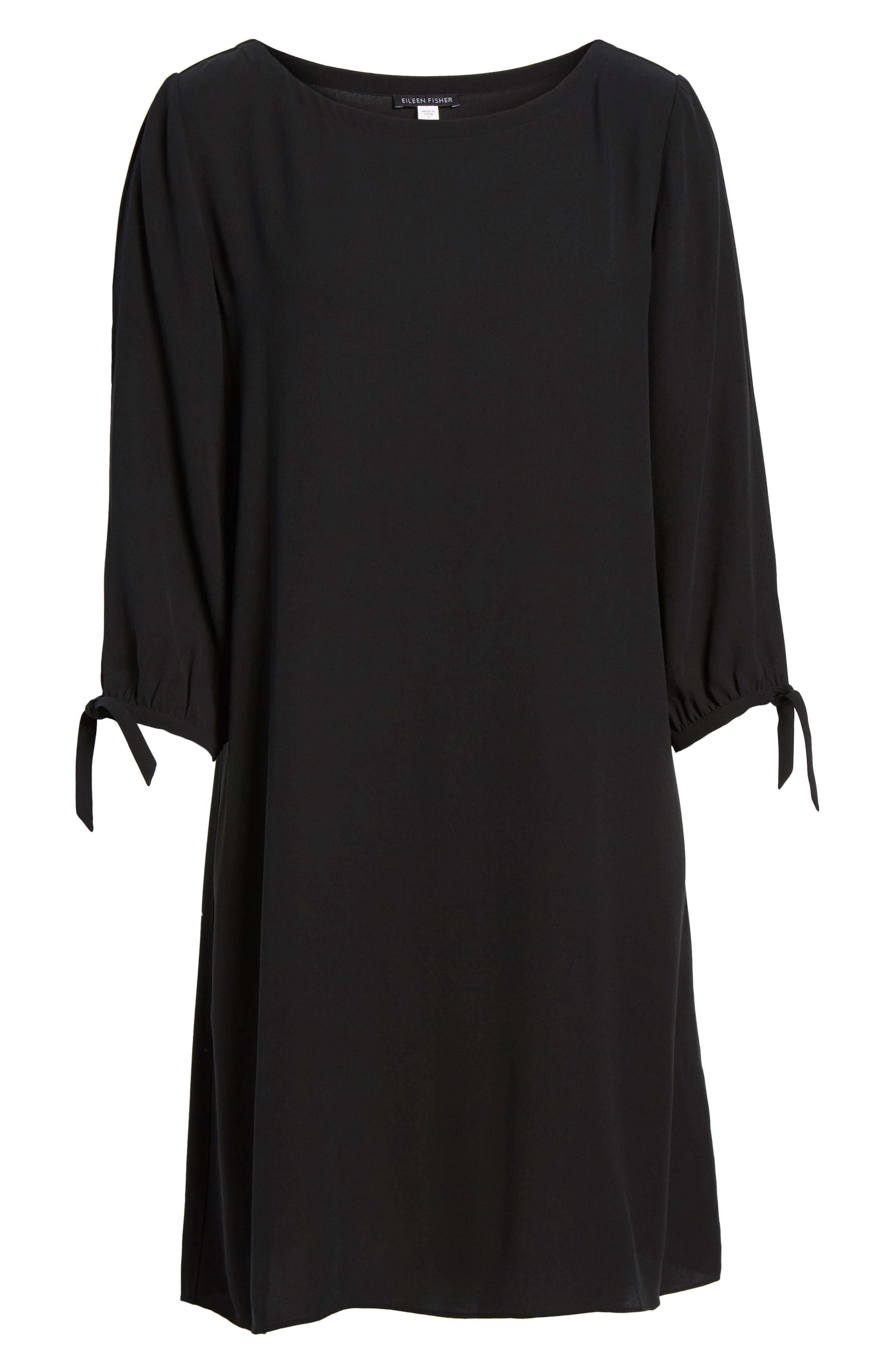 Silk Shift Dress,                             Alternate thumbnail 6, color,                             001