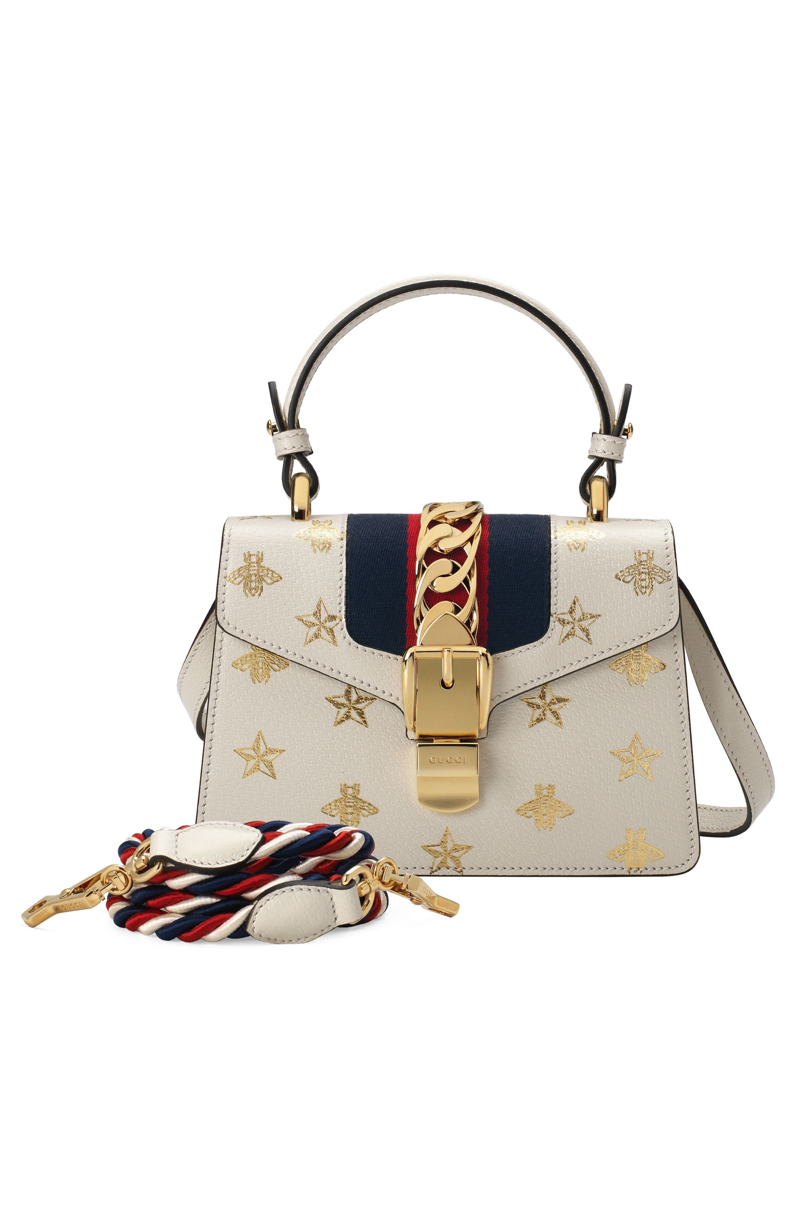 Small Sylvie Top Handle Leather Shoulder Bag,                             Alternate thumbnail 5, color,                             MYSTIC WHITE/ ORO/ BLUE/ RED