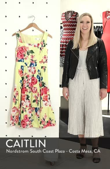 Square Neck Floral Tiered Fit & Flare Midi Dress, sales video thumbnail