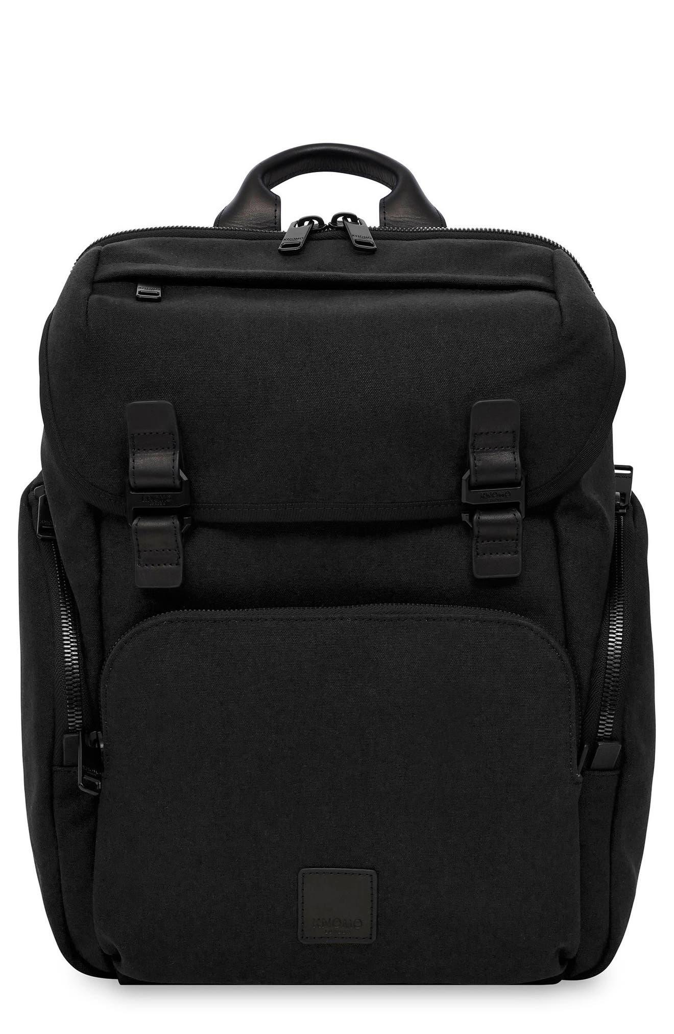 Knomo Fulham Thurloe Waxed Canvas Backpack with RFID Pocket,                             Main thumbnail 1, color,                             BLACK