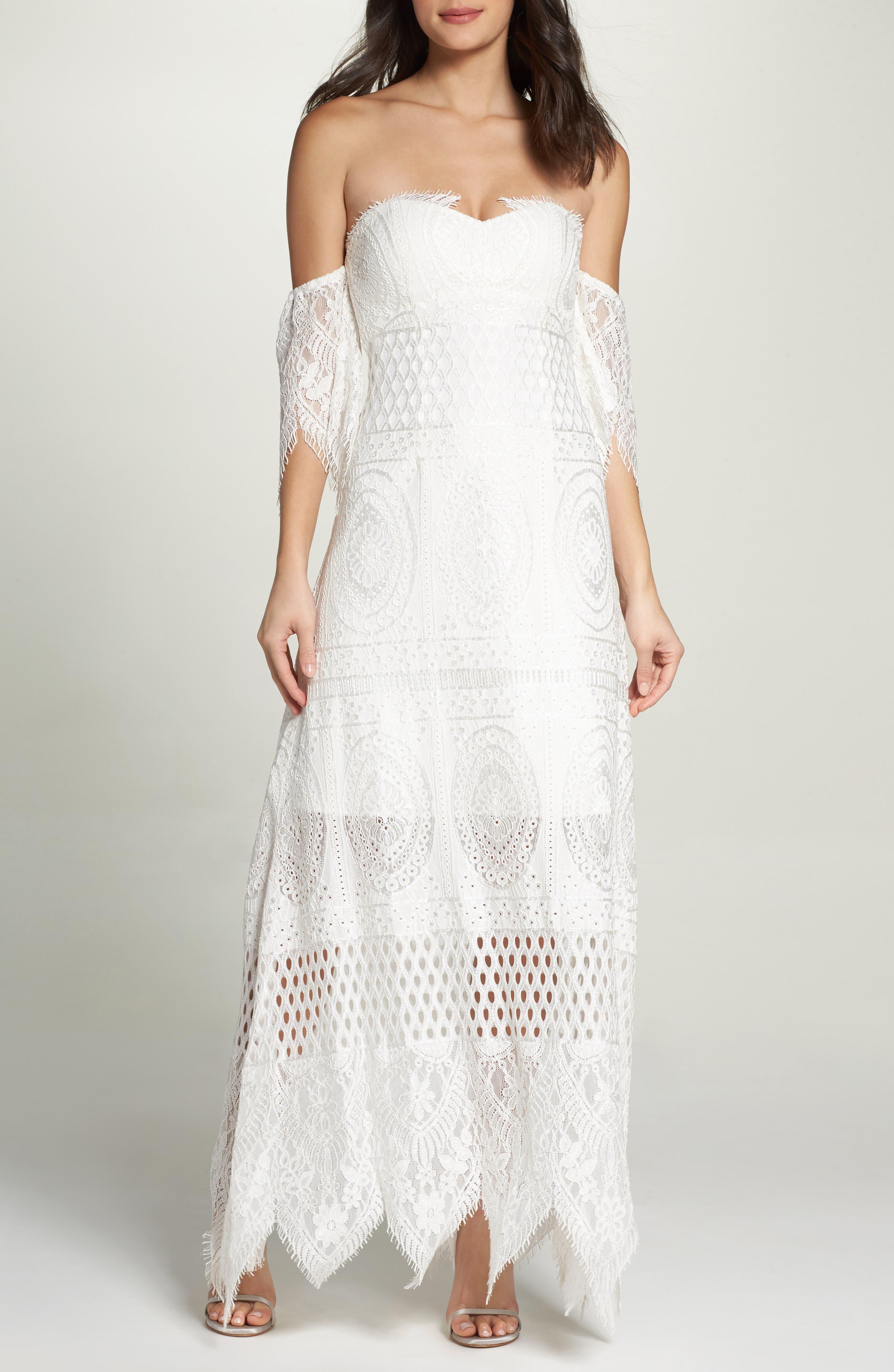 Lace Off the Shoulder Maxi Dress,                         Main,                         color, 900