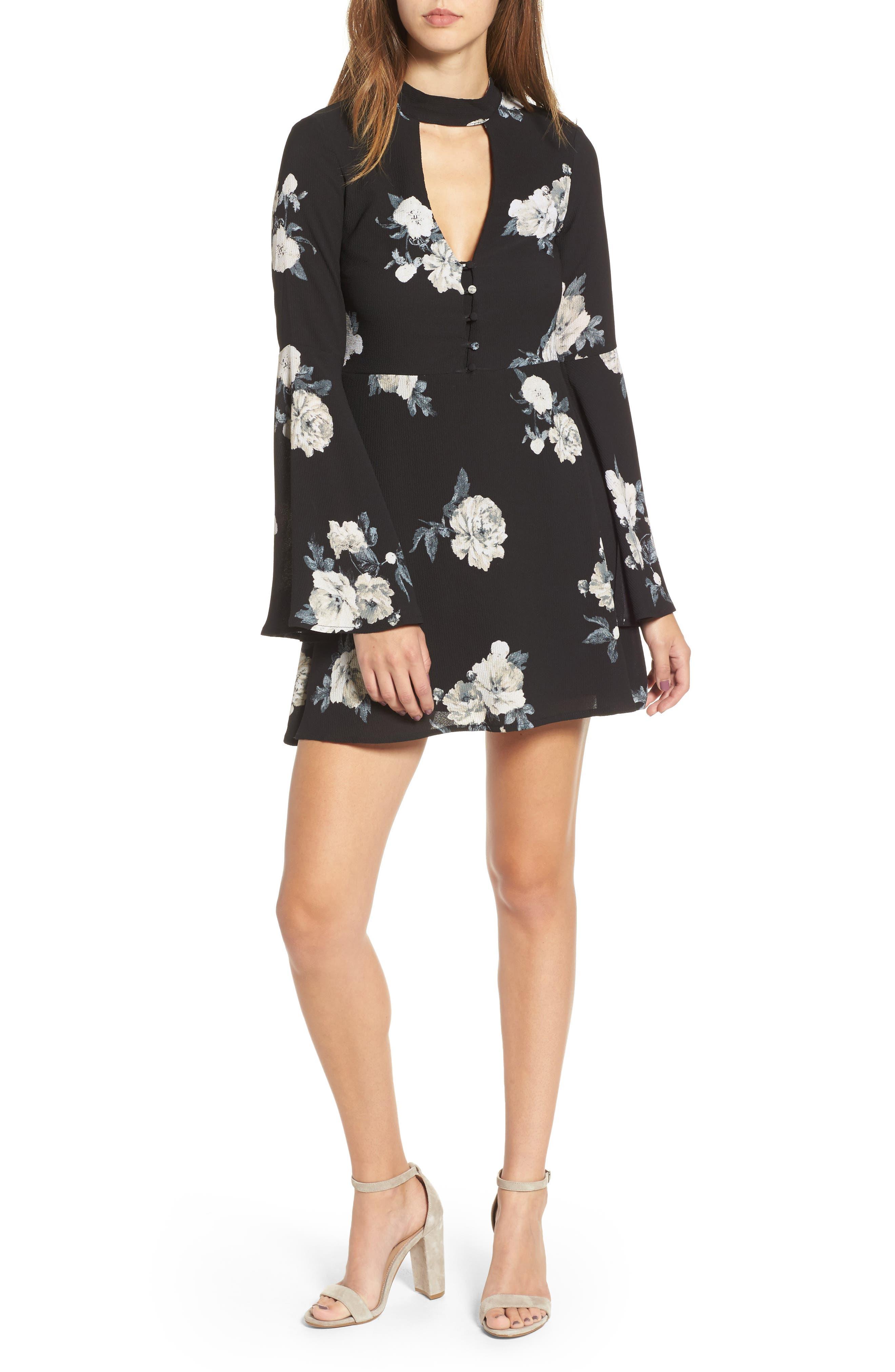 Harper Bell Sleeve Dress,                             Main thumbnail 1, color,                             001