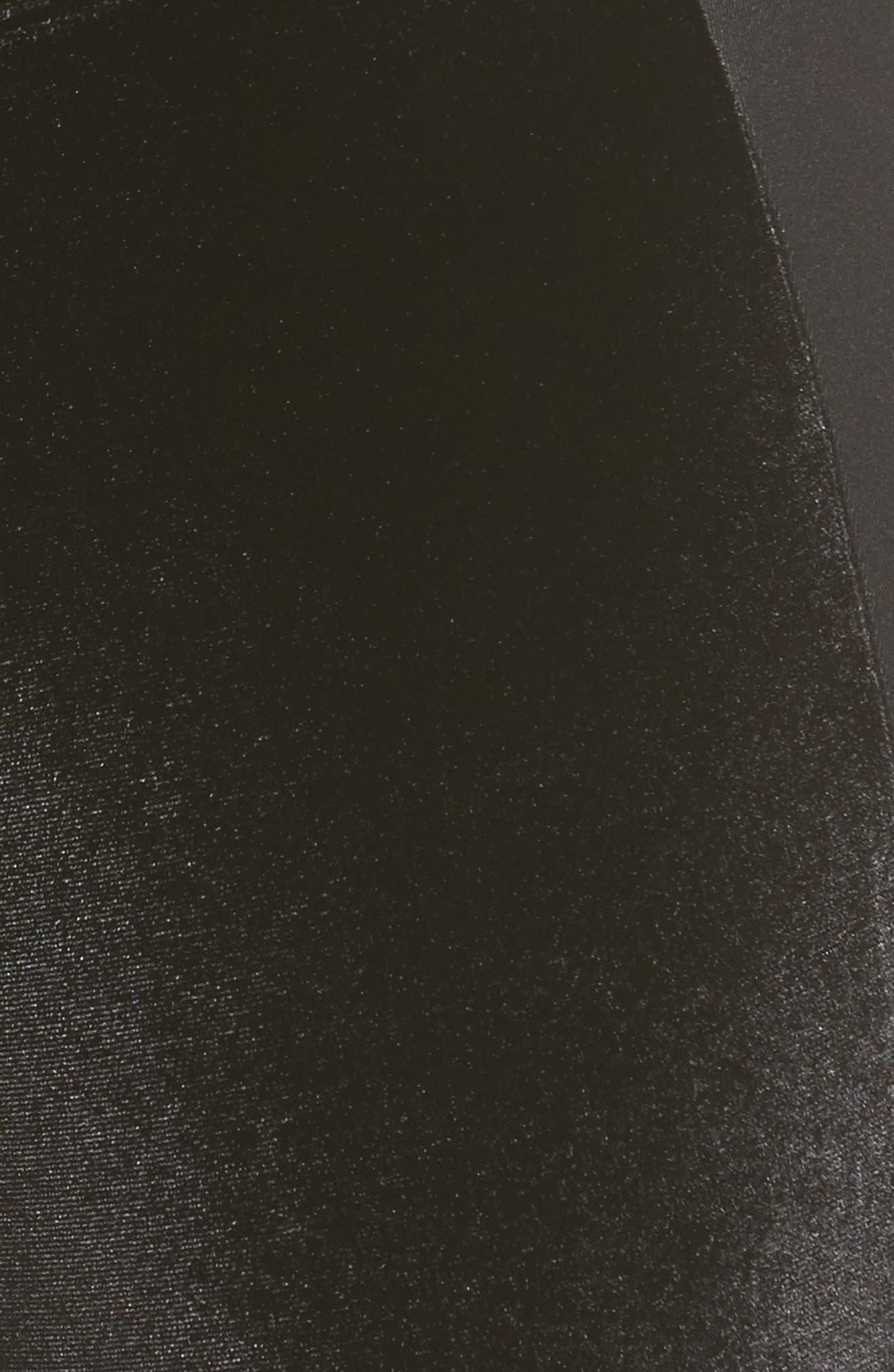 Velvet Panel Ankle Leggings,                             Alternate thumbnail 5, color,                             001