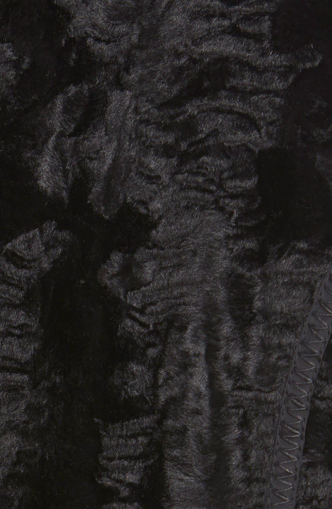 Laundry by ShelliSegalReversible FauxPersian Lamb Fur Coat,                             Alternate thumbnail 4, color,                             001