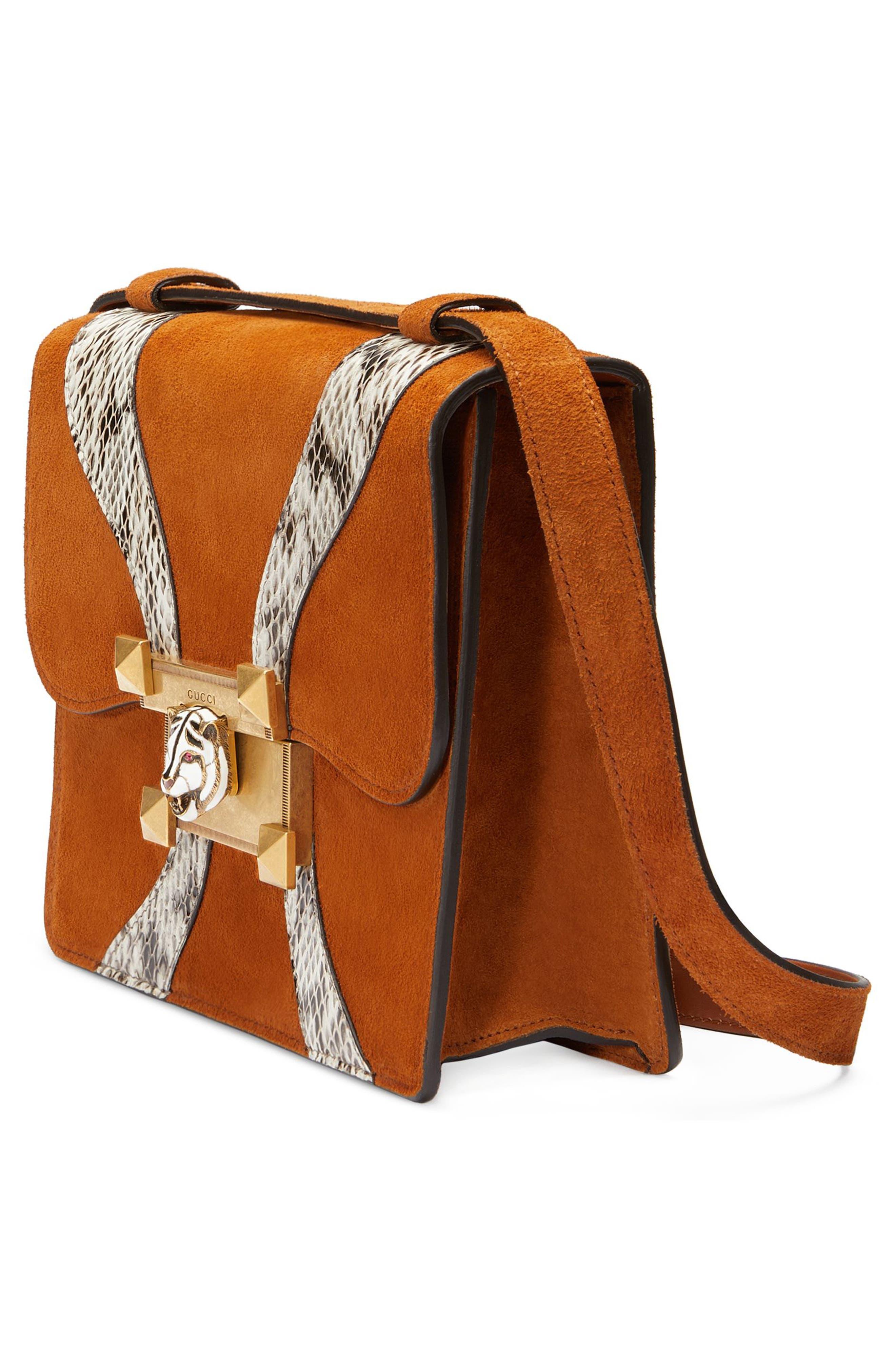GUCCI,                             Osiride Suede & Genuine Snakeskin Shoulder Bag,                             Alternate thumbnail 4, color,                             209