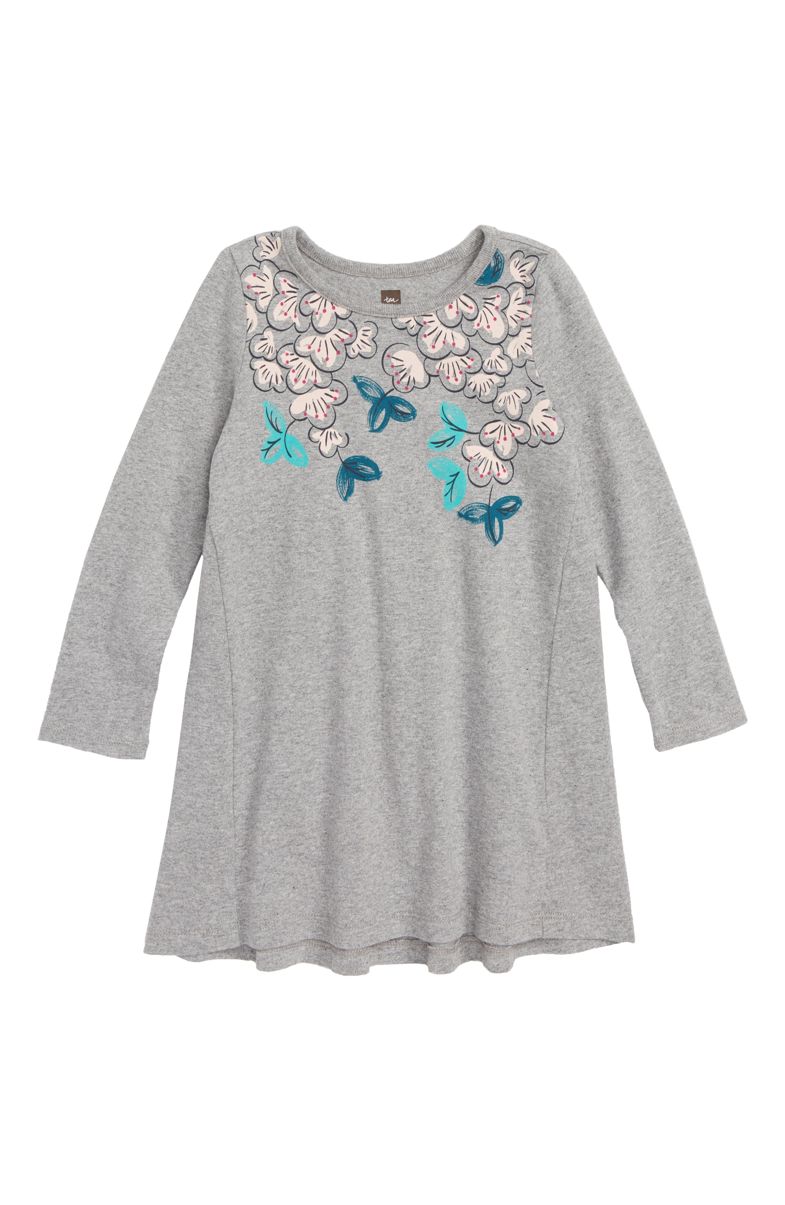 Blossoms T-Shirt Dress,                             Main thumbnail 1, color,                             MED HEATHER GREY