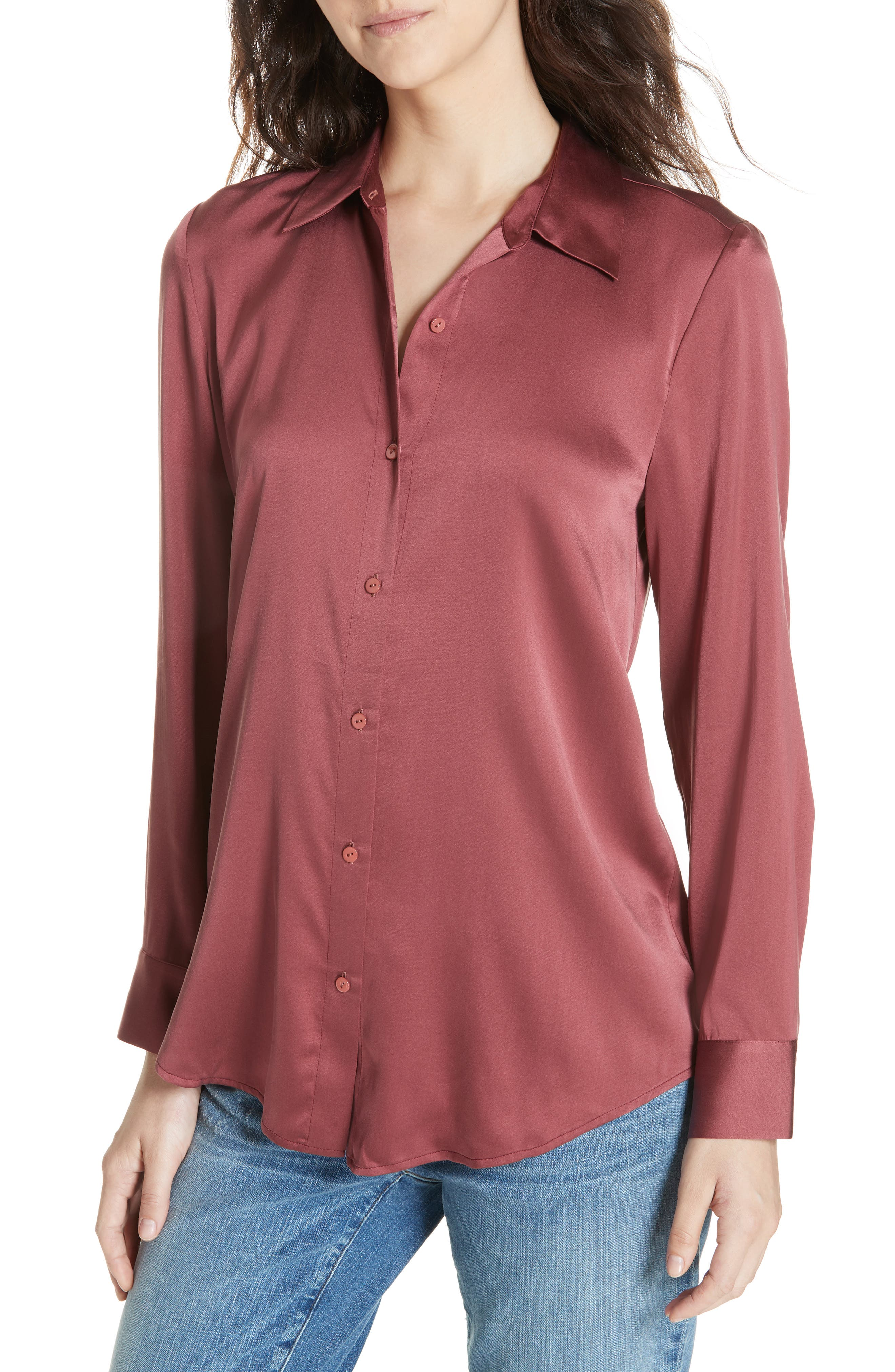 women's eileen fisher stretch silk shirt, size x-large - brown