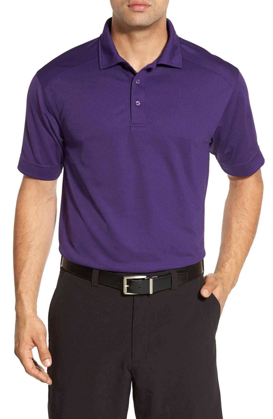 'Genre' DryTec Moisture Wicking Polo,                             Main thumbnail 1, color,                             COLLEGE PURPLE