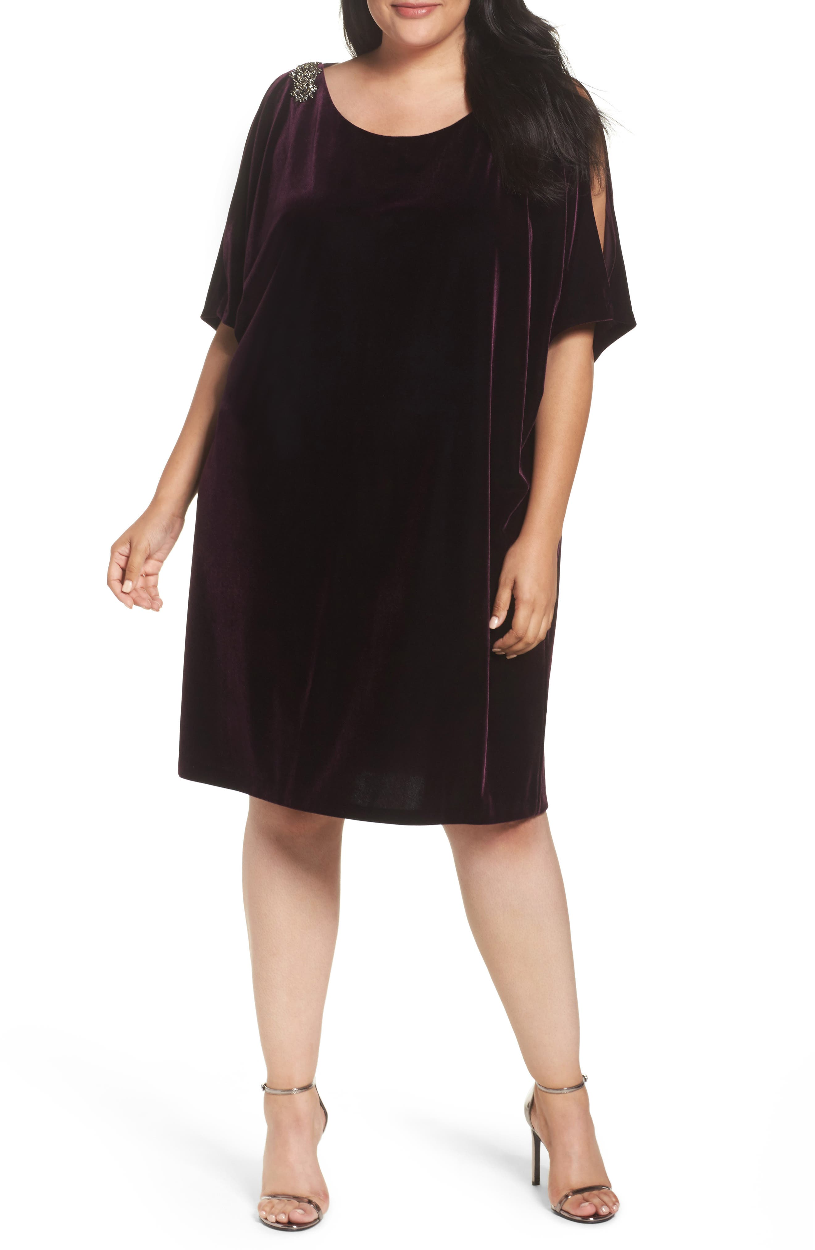 Embellished Velvet Shift Dress,                             Main thumbnail 1, color,