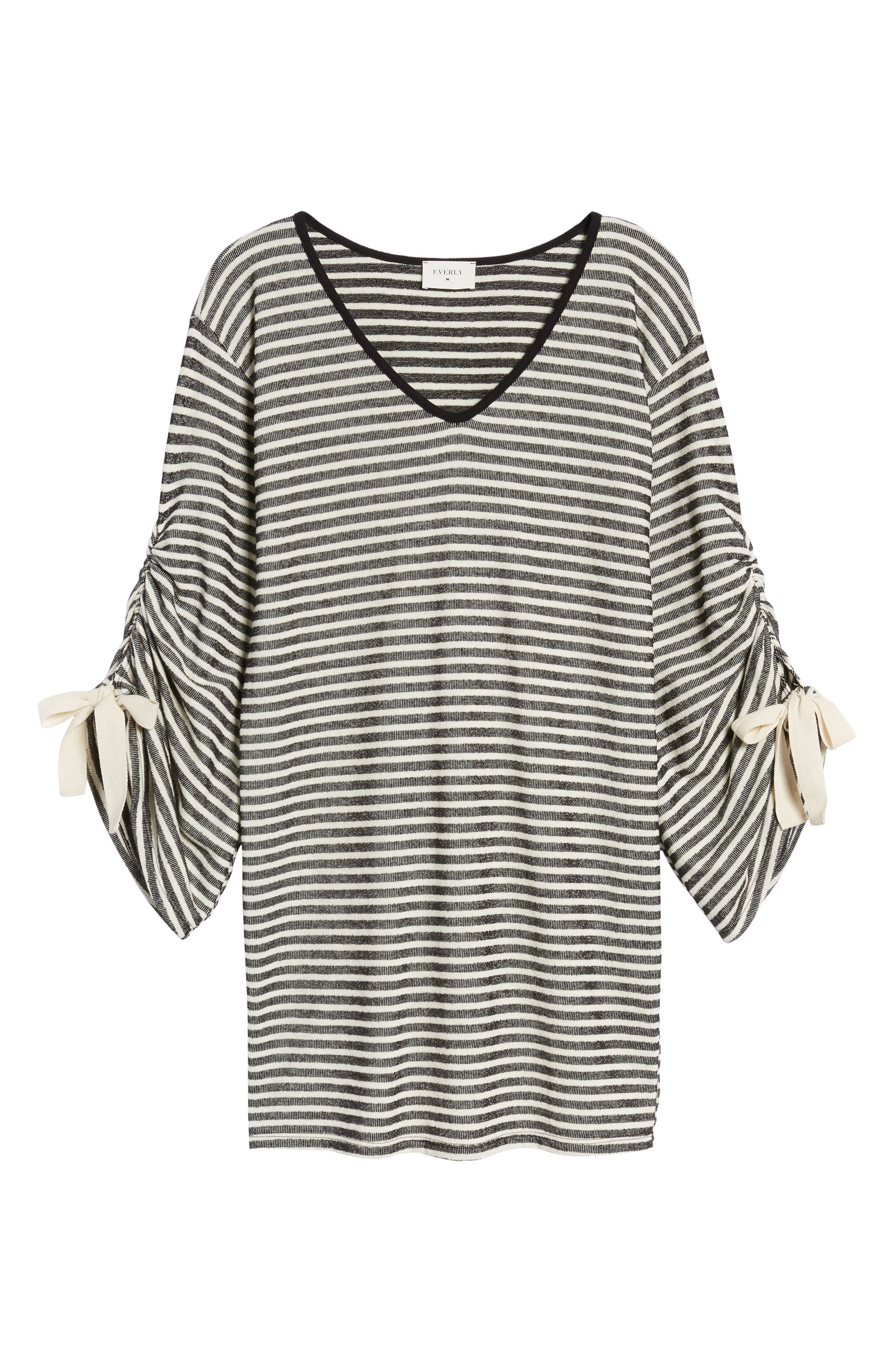 Tie Sleeve Sweatshirt Dress,                             Alternate thumbnail 6, color,                             001