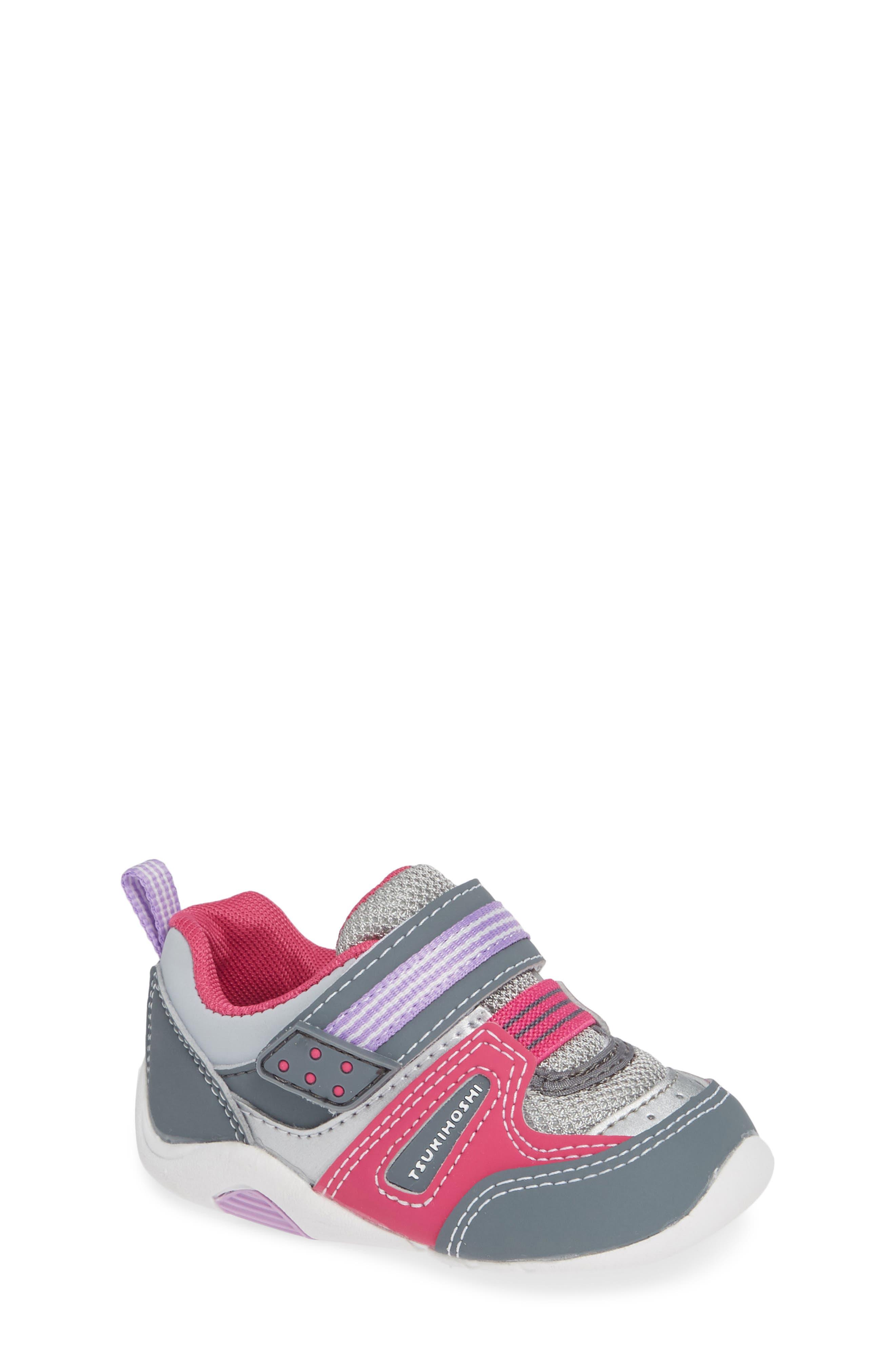 Infant Girls Tsukihoshi Neko Washable Sneaker Size 4 M  Grey