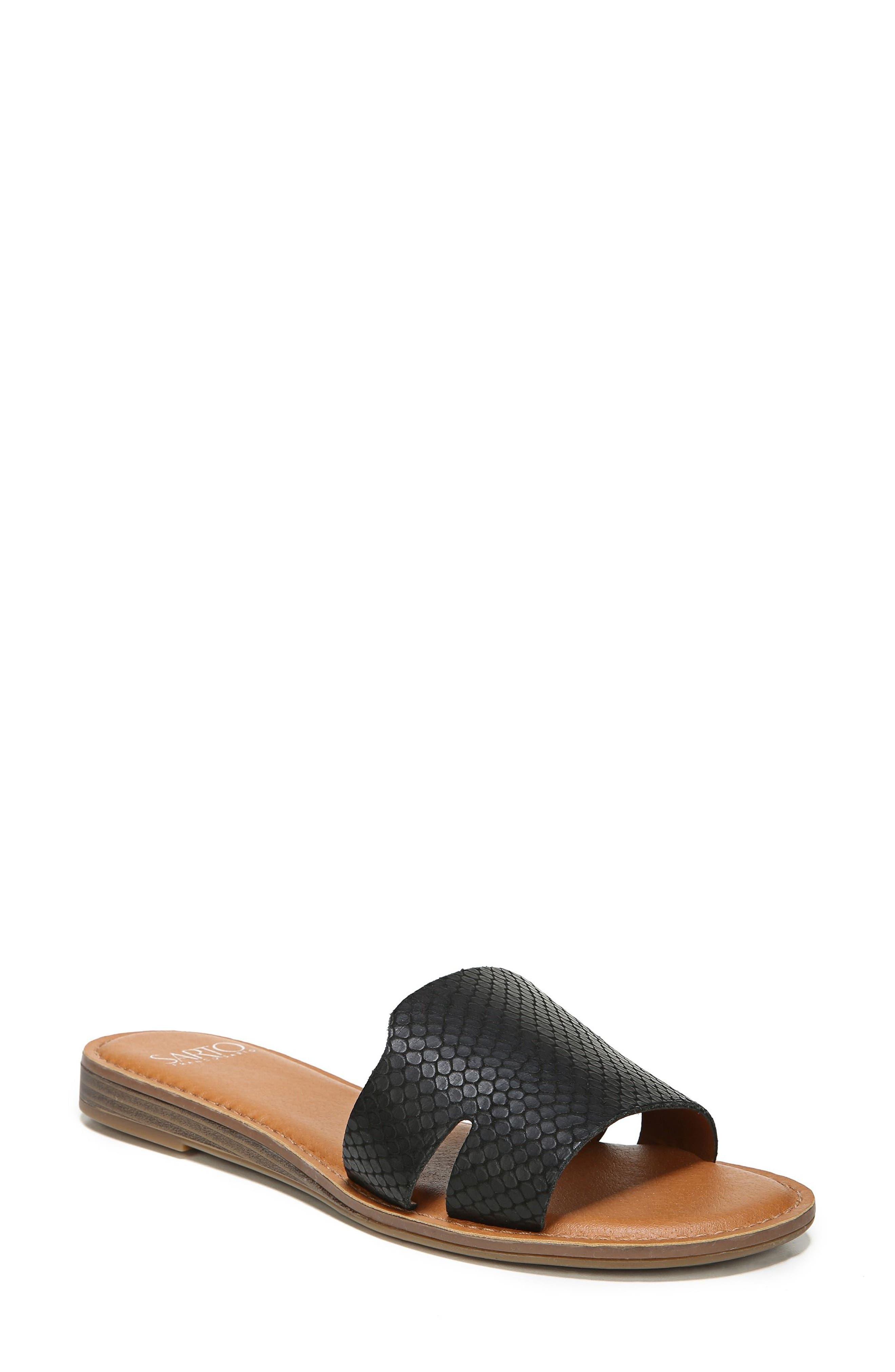 Ginelle Slide Sandal,                         Main,                         color, BLACK PRINTED LEATHER
