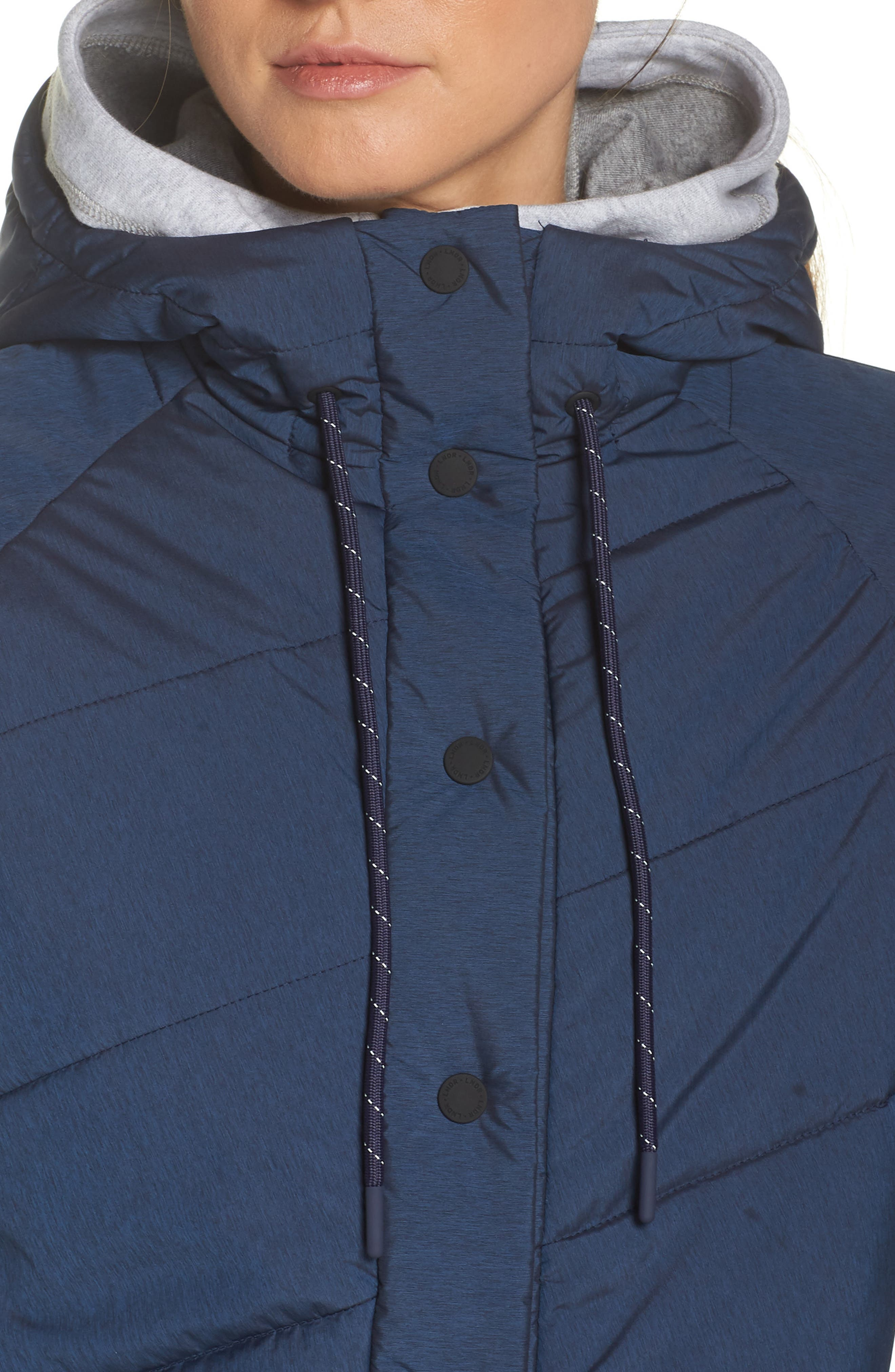 Toast Water Repellent Hooded Jacket,                             Alternate thumbnail 4, color,                             NAVY MARL