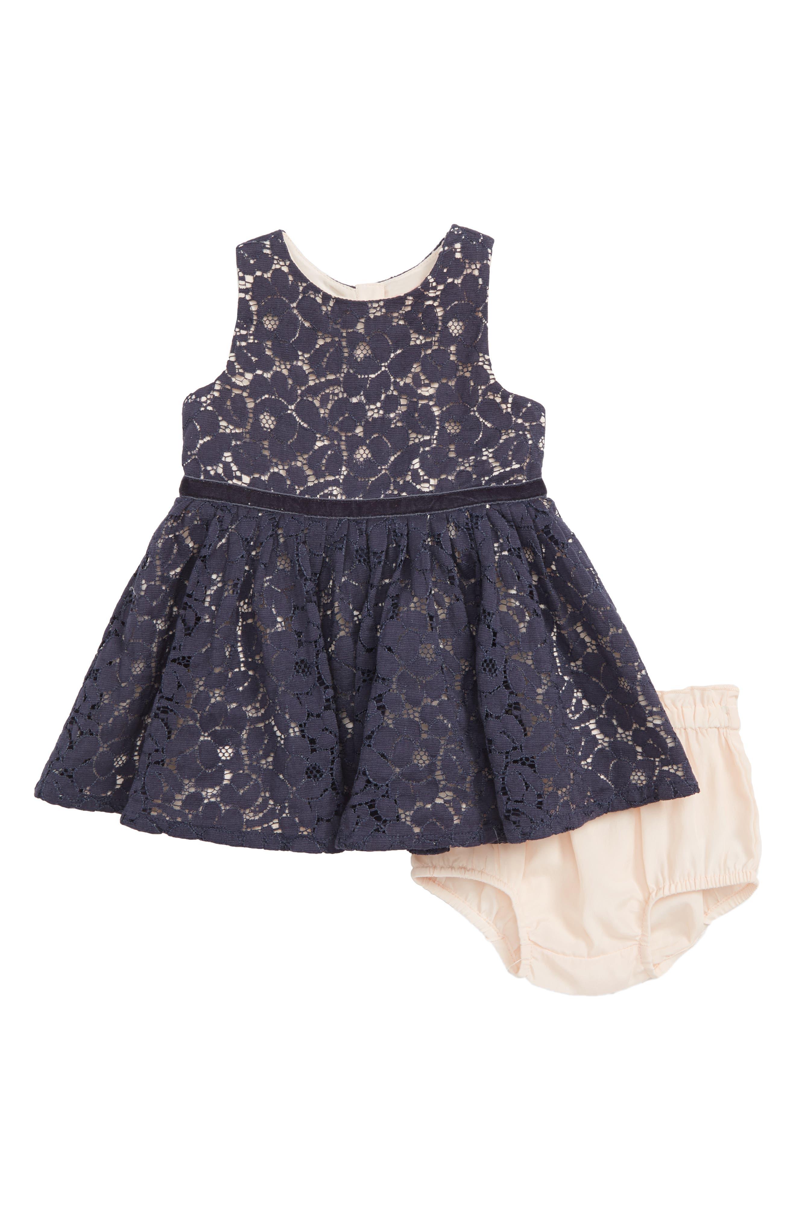 Pretty Lace Dress,                             Main thumbnail 1, color,                             NAVY CHARCOAL- PINK