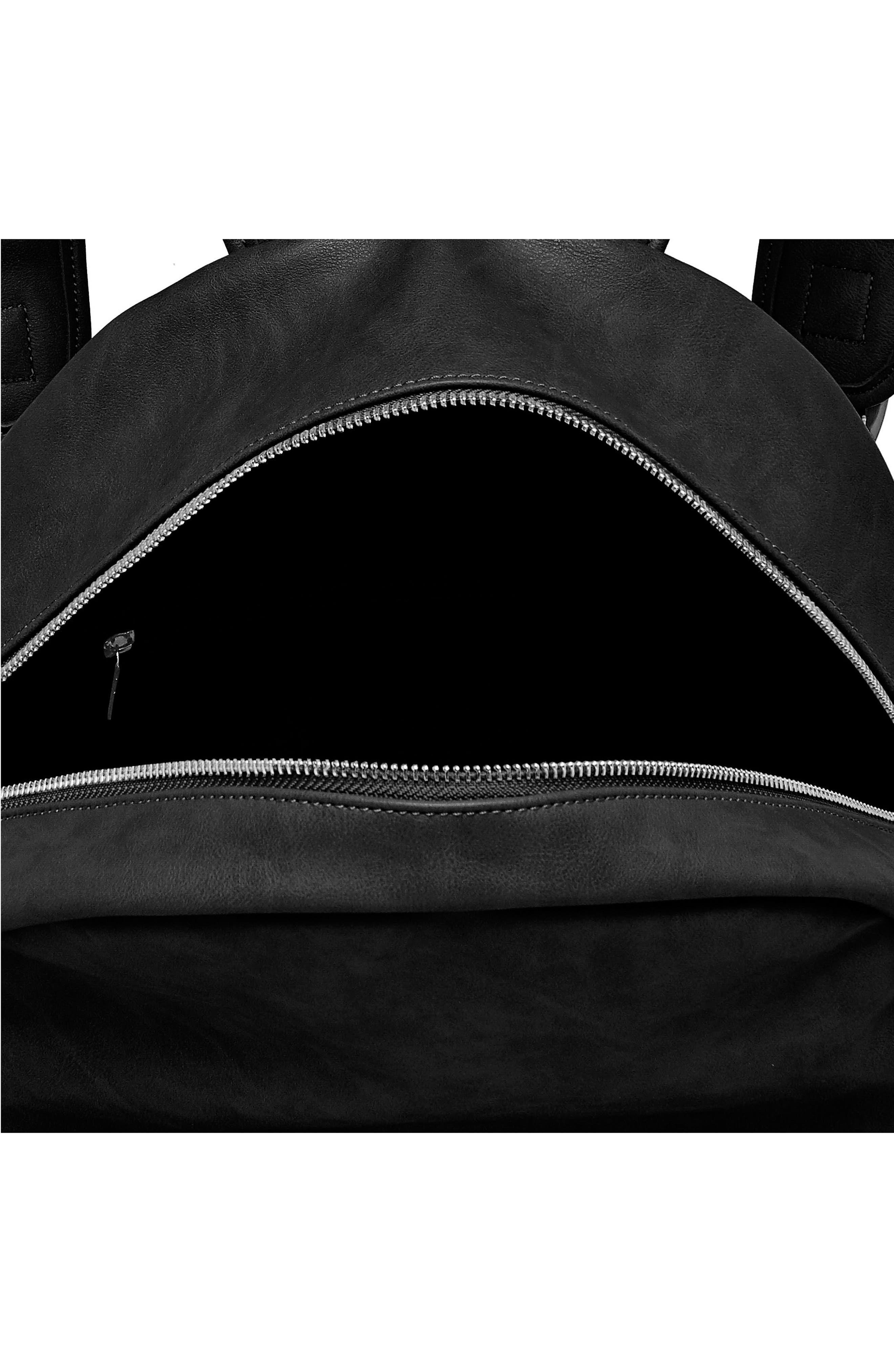 Practical Vegan Leather Backpack,                             Alternate thumbnail 3, color,                             001