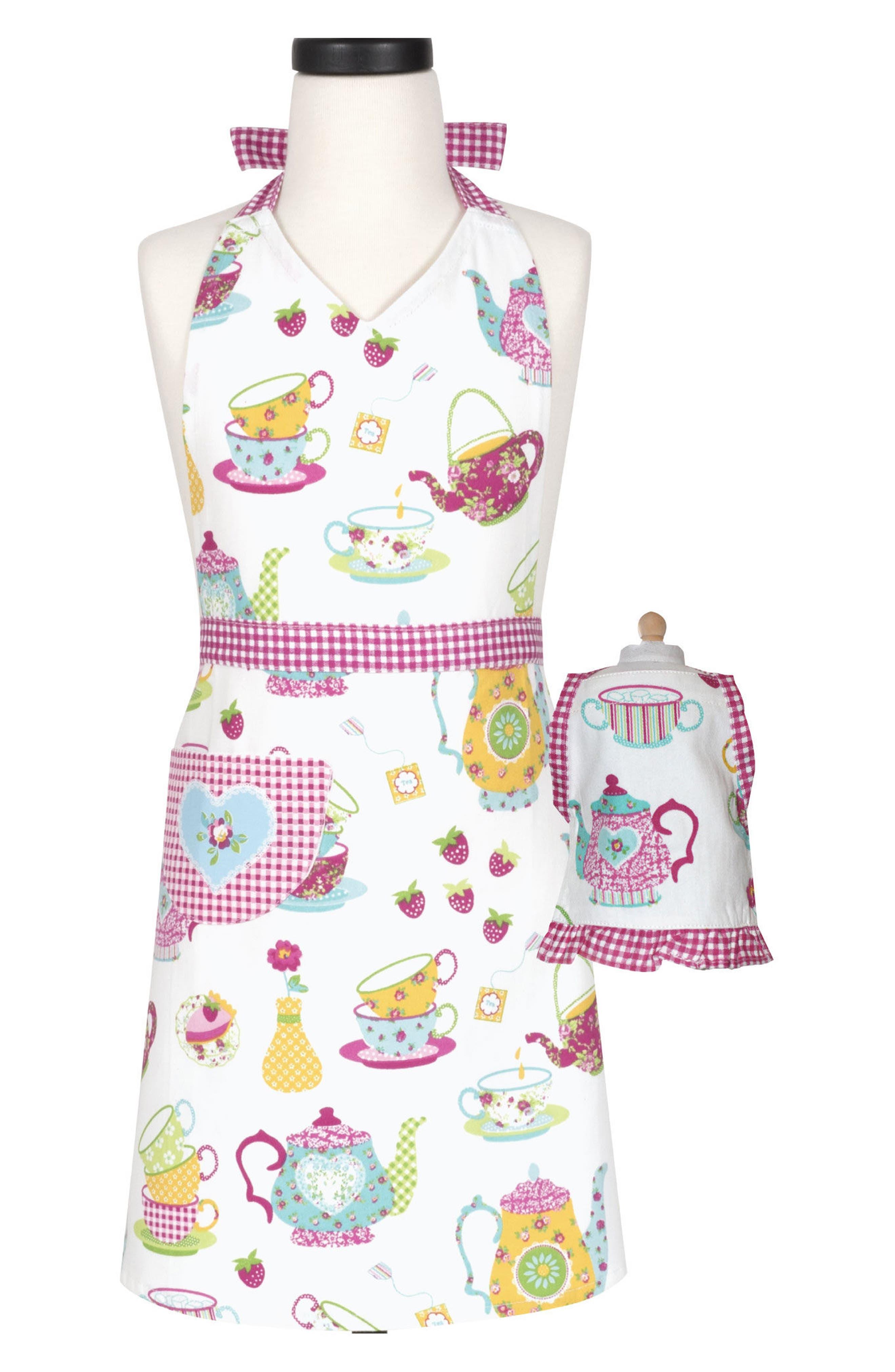 Tea Party Kid Apron & Doll Apron Set,                             Main thumbnail 1, color,                             MULTI