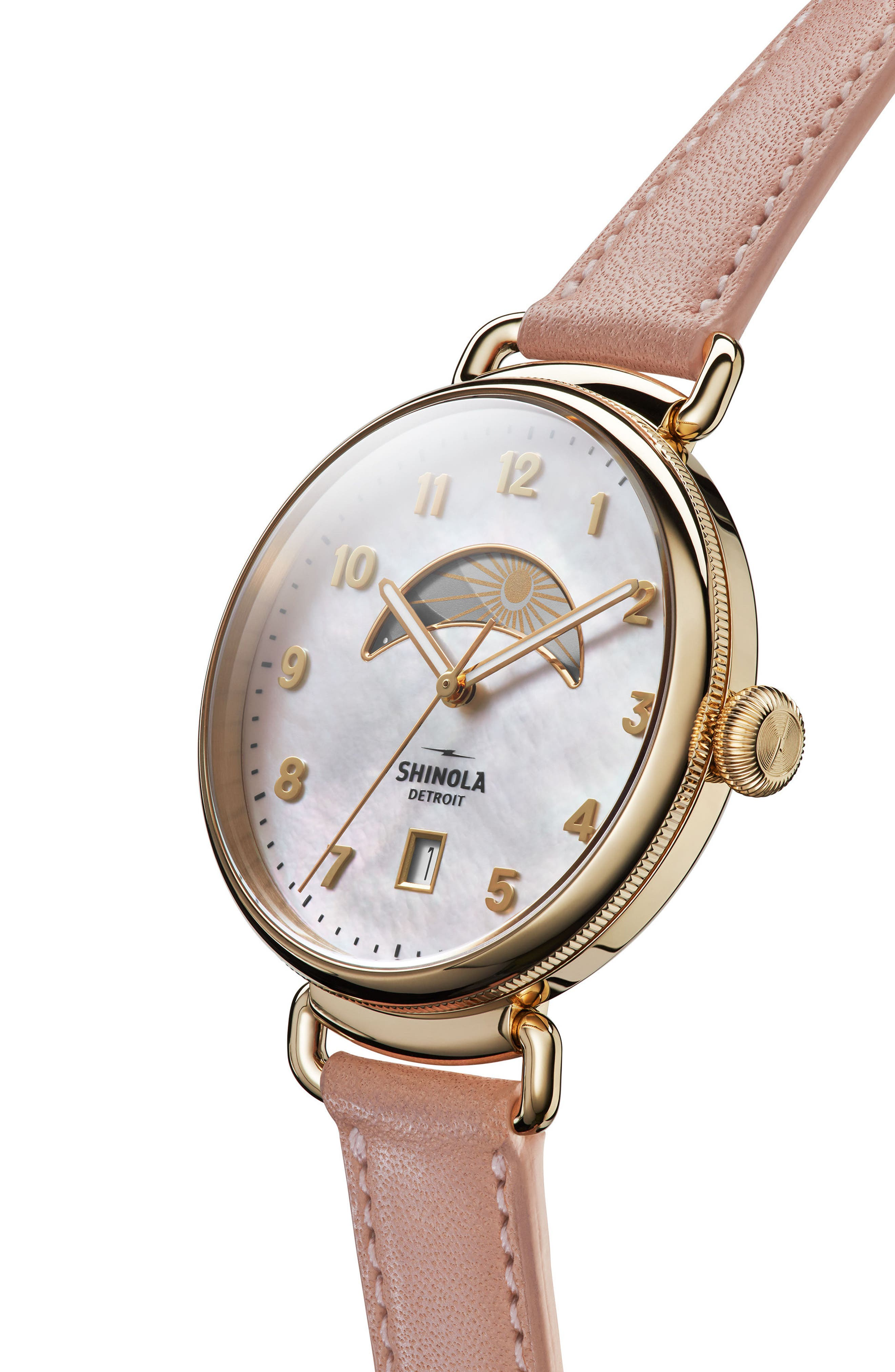 The Canfield Leather Strap Watch, 38mm,                             Alternate thumbnail 3, color,                             BLUSH/ MOP/ GOLD