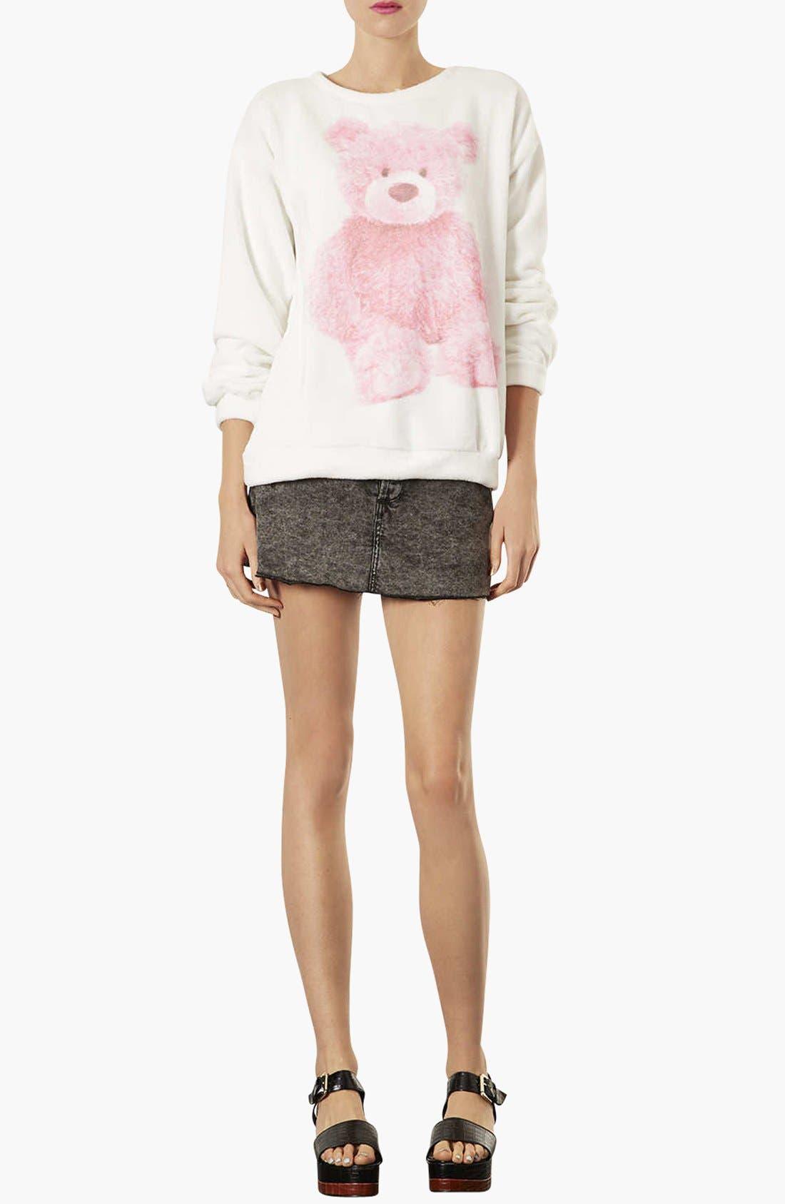 TOPSHOP,                             Teddy Bear Furry Sweatshirt,                             Alternate thumbnail 2, color,                             900