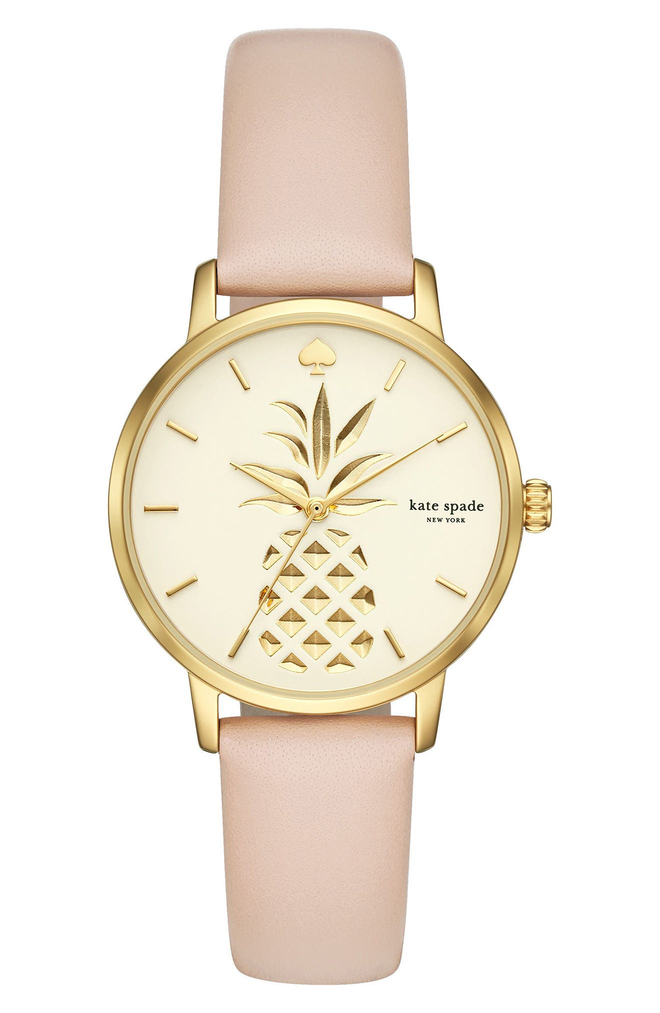 metro leather strap watch, 34mm,                         Main,                         color, BLUSH/ CREAM/ GOLD
