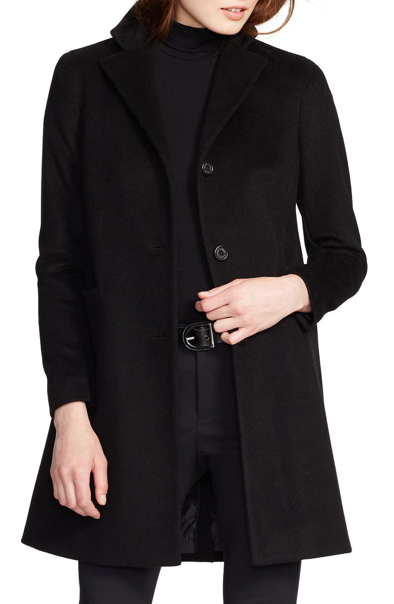Wool Blend Reefer Coat,                             Main thumbnail 1, color,                             BLACK
