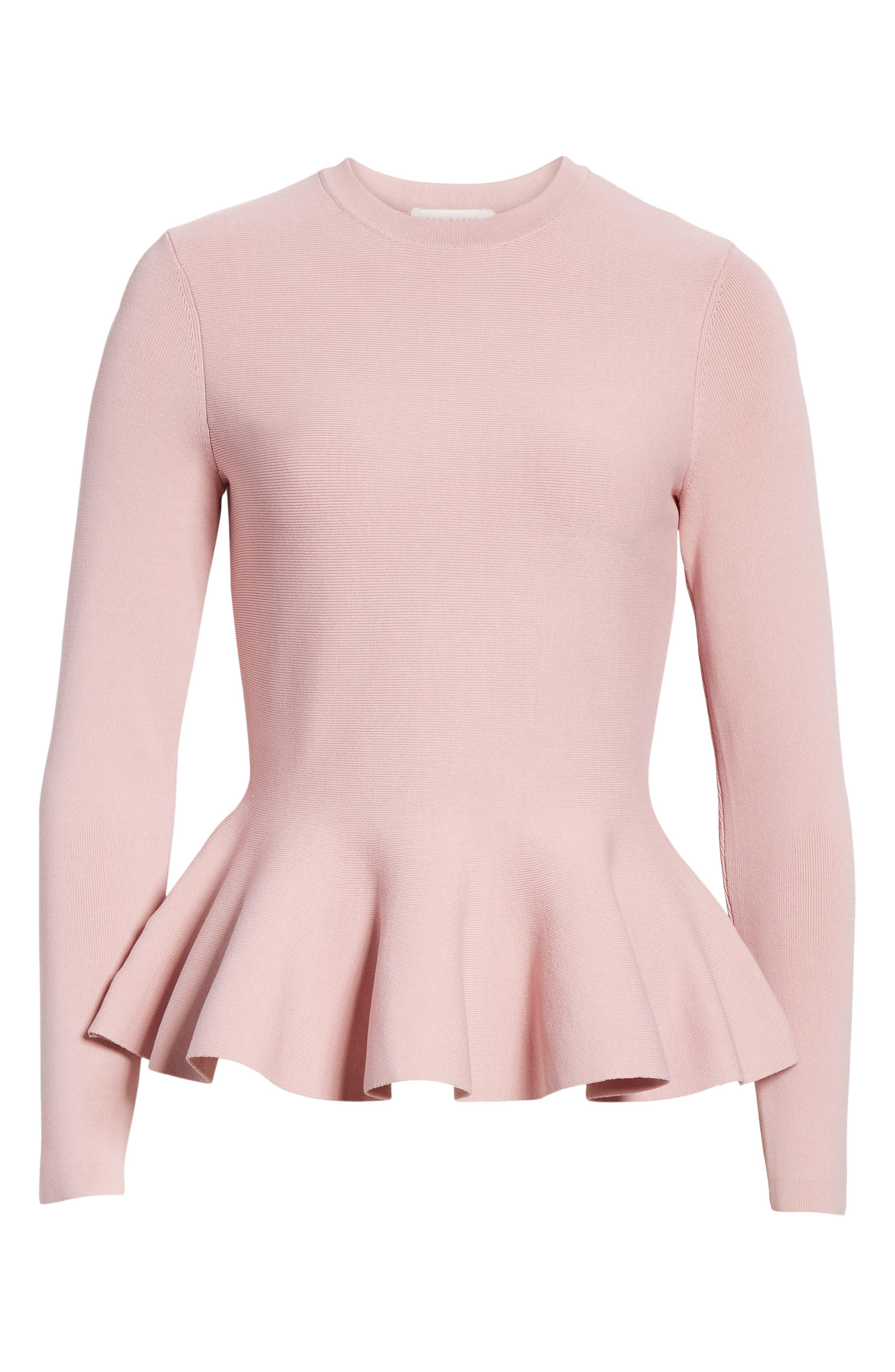 Hinlia Peplum Sweater,                             Alternate thumbnail 6, color,                             DUSKY PINK