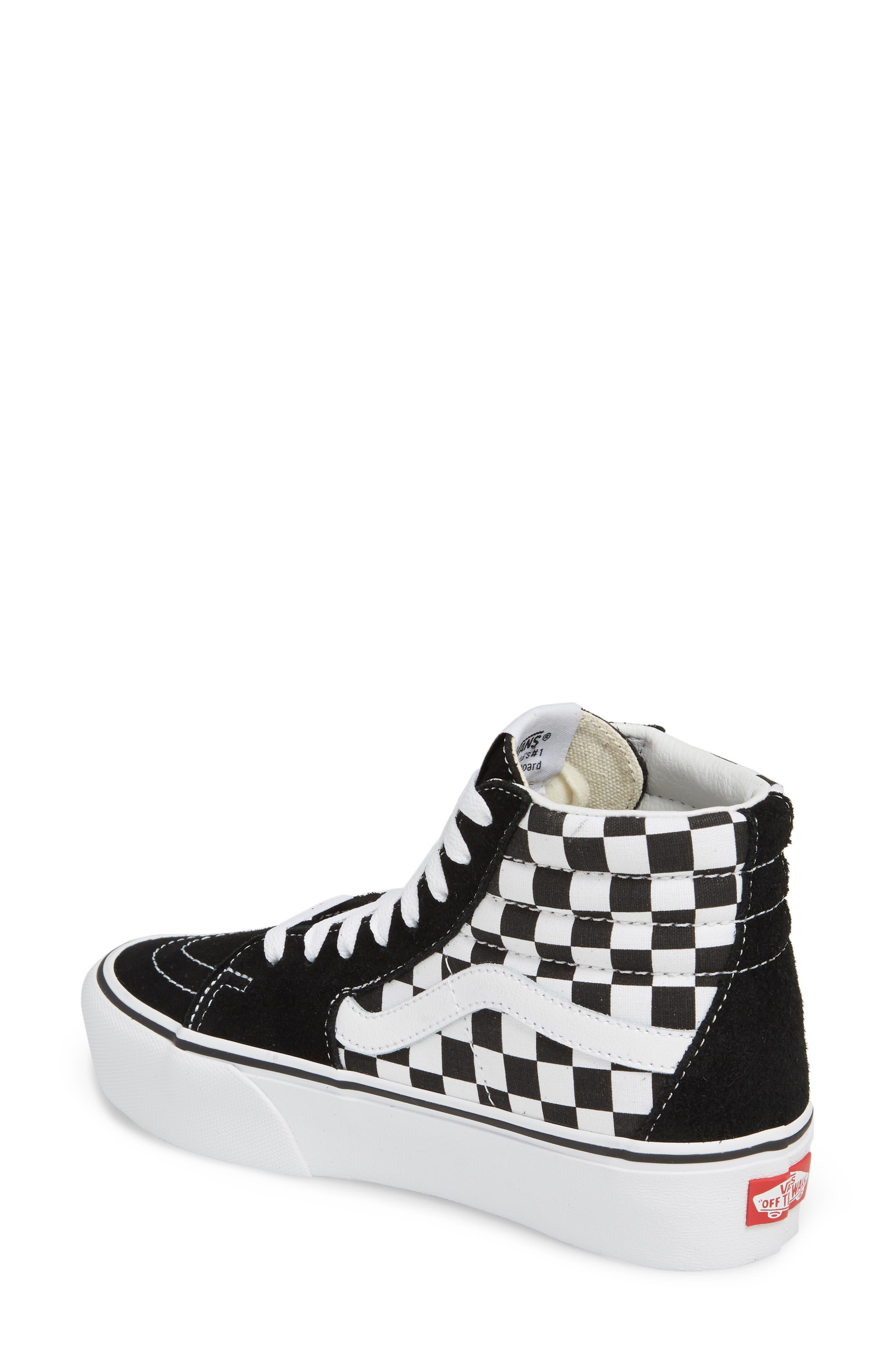 UA Sk8-Hi Platform Checkerboard Sneaker,                             Alternate thumbnail 2, color,                             CHECKER BOARD/ TRUE WHITE