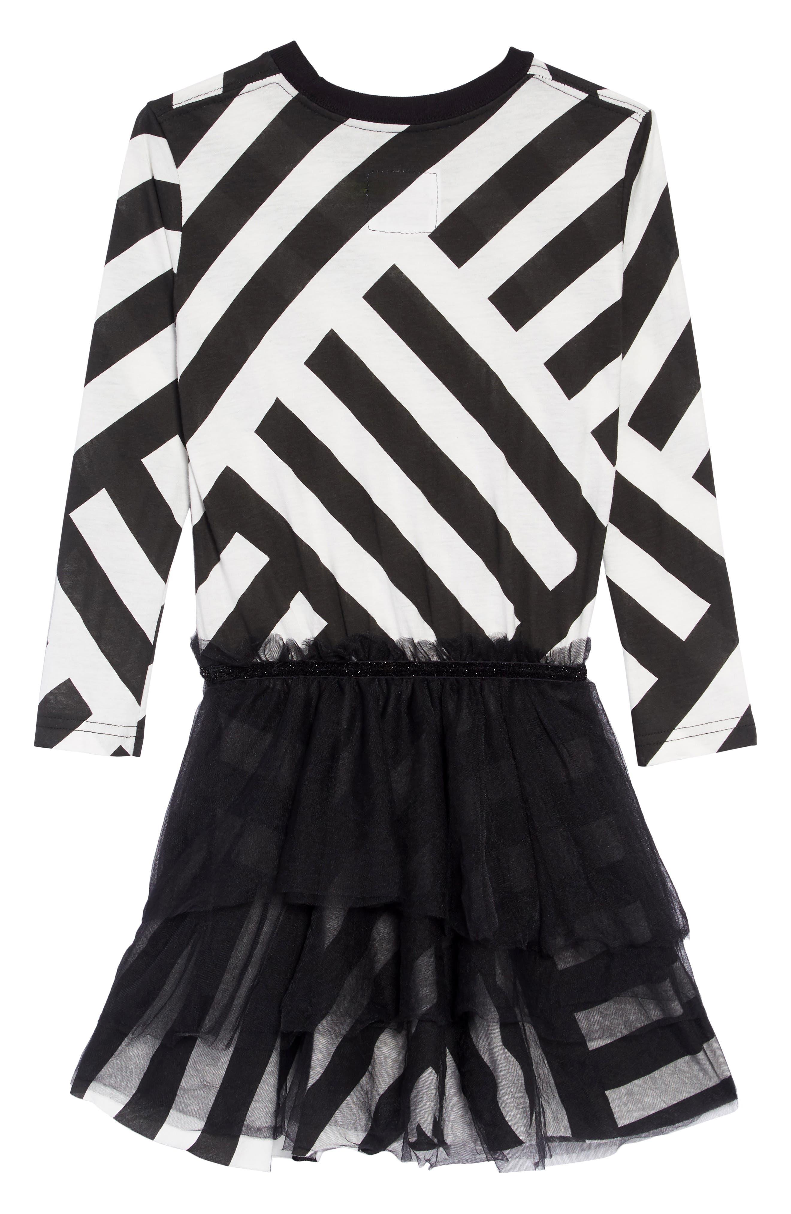 Stripe Tulle Dress,                             Alternate thumbnail 2, color,                             BLACK