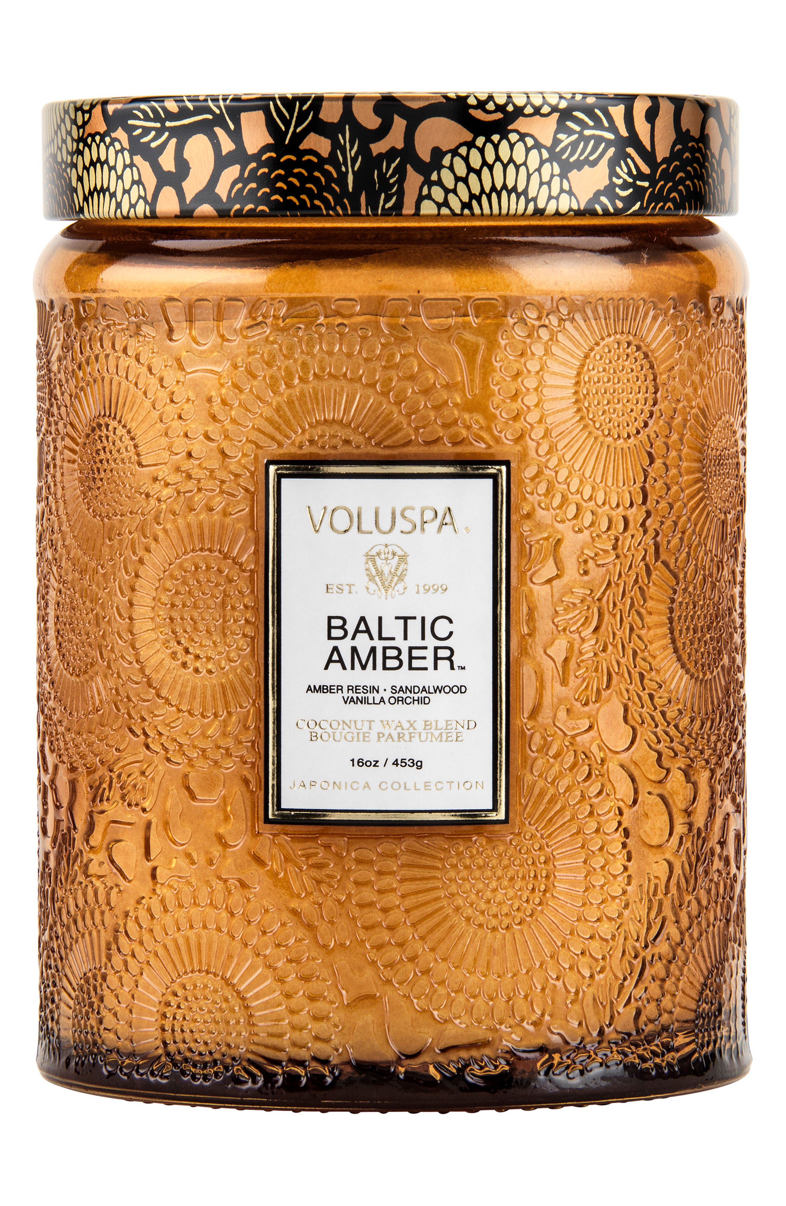 VOLUSPA,                             Japonica Baltic Amber Large Embossed Glass Jar Candle,                             Main thumbnail 1, color,                             NO COLOR