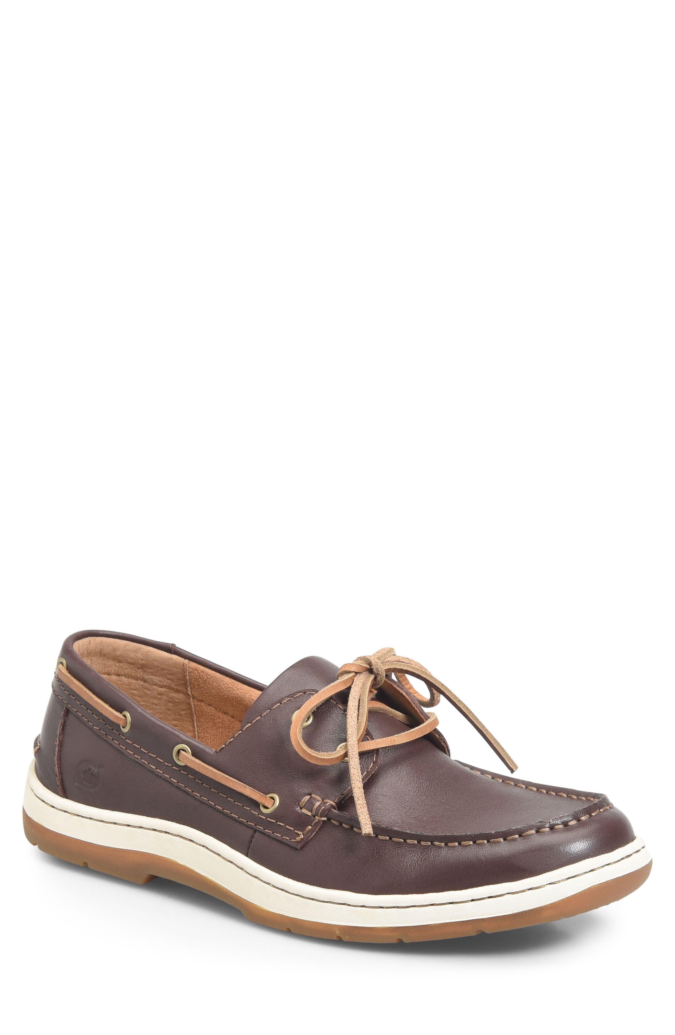 Ocean Boat Shoe,                             Main thumbnail 1, color,                             DARK BROWN LEATHER